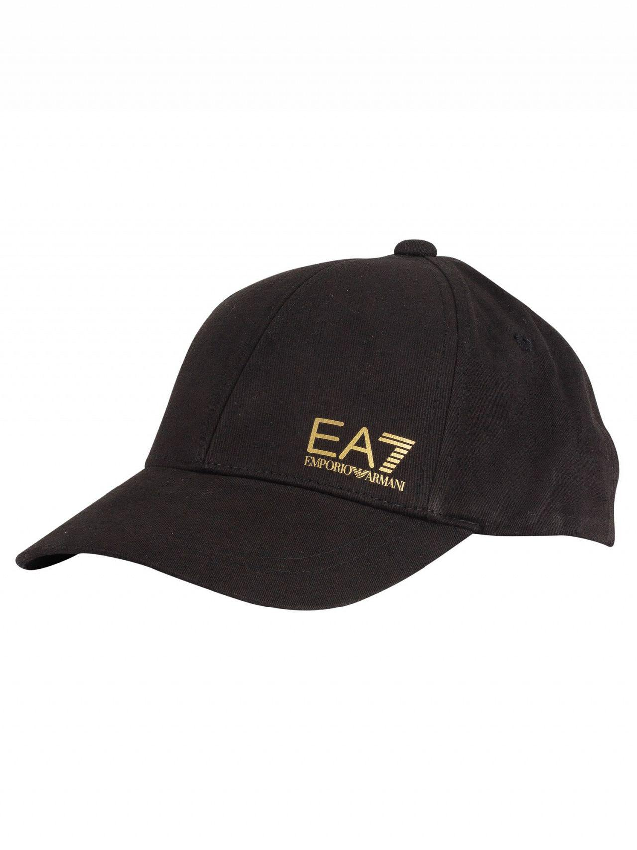 50d0c4b2bb5 Lyst - EA7 Black gold Train Core Baseball Cap in Black for Men ...