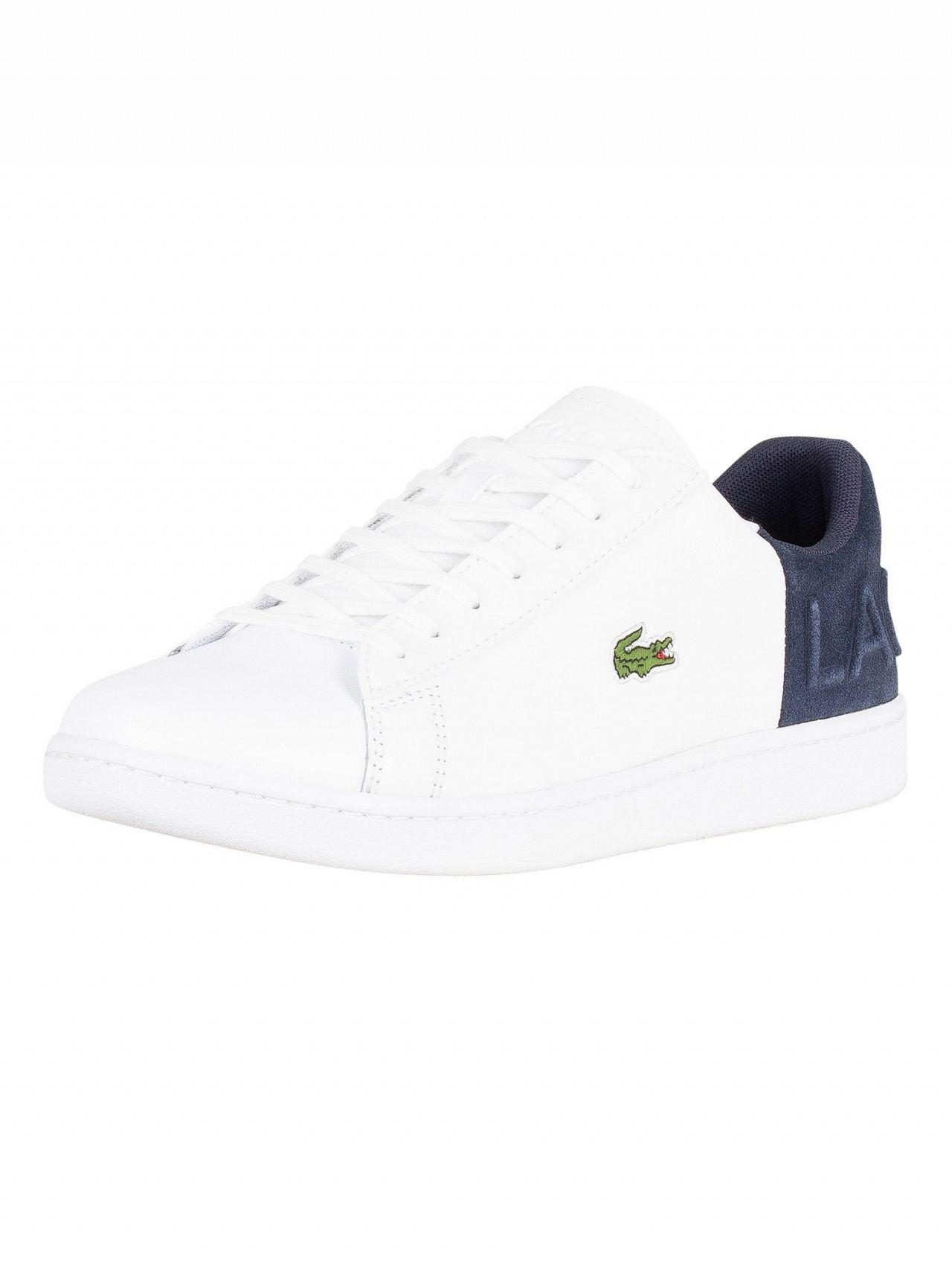 cf1319ff9 Lacoste White navy Carnaby Evo 318 2 Qsp Spm Leather Trainers in ...