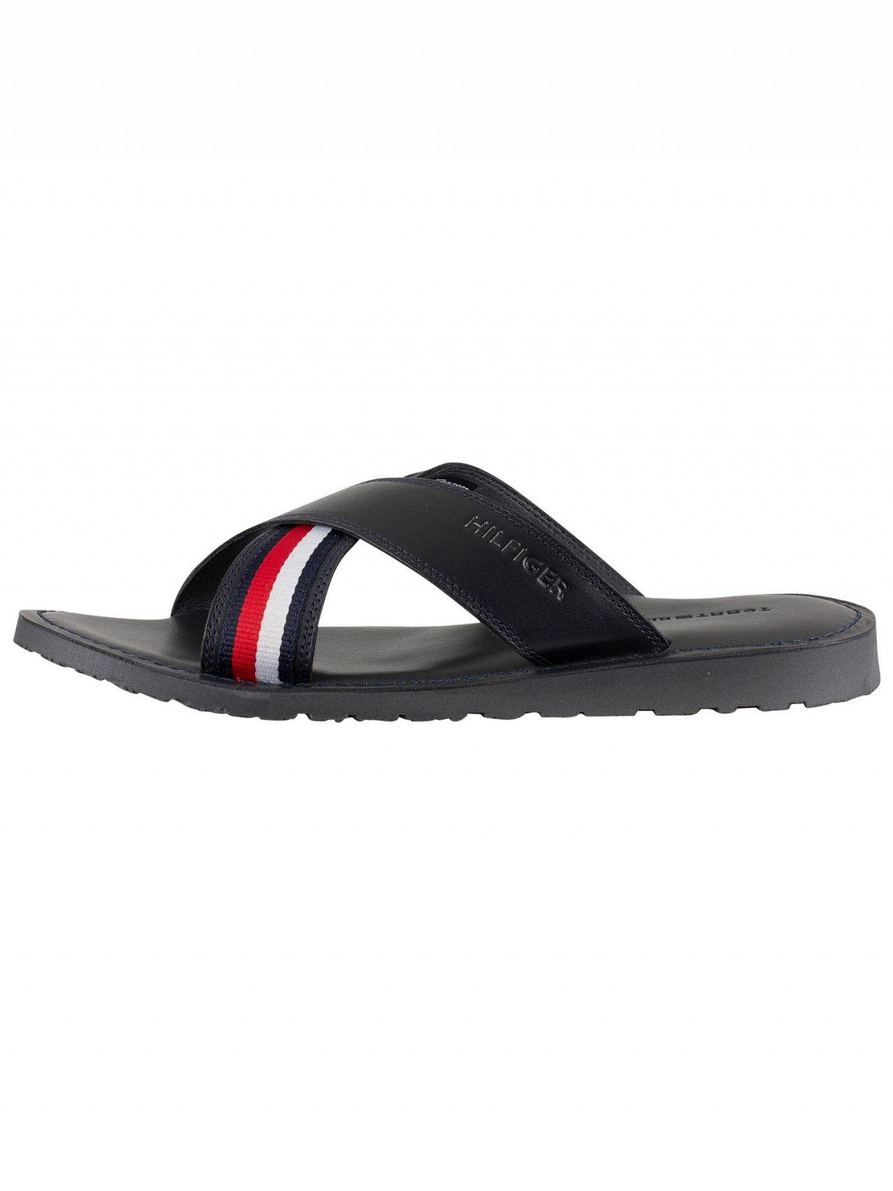 652169c3c Lyst - Tommy Hilfiger Midnight Criss Cross Leather Sandals in Blue for Men