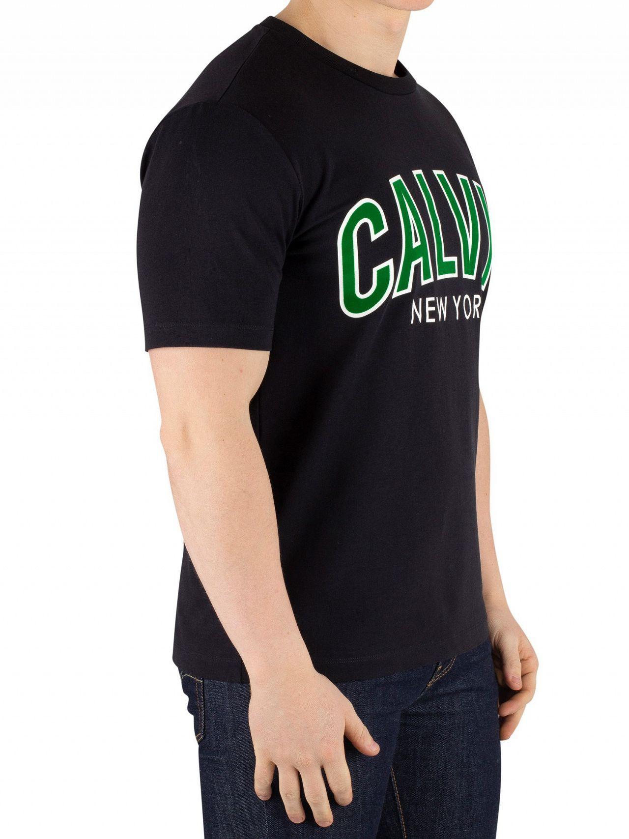 06caace2b9fd Lyst - Calvin Klein Men's Curved Varsity T-shirt, Black Men's T Shirt In  Black in Black for Men