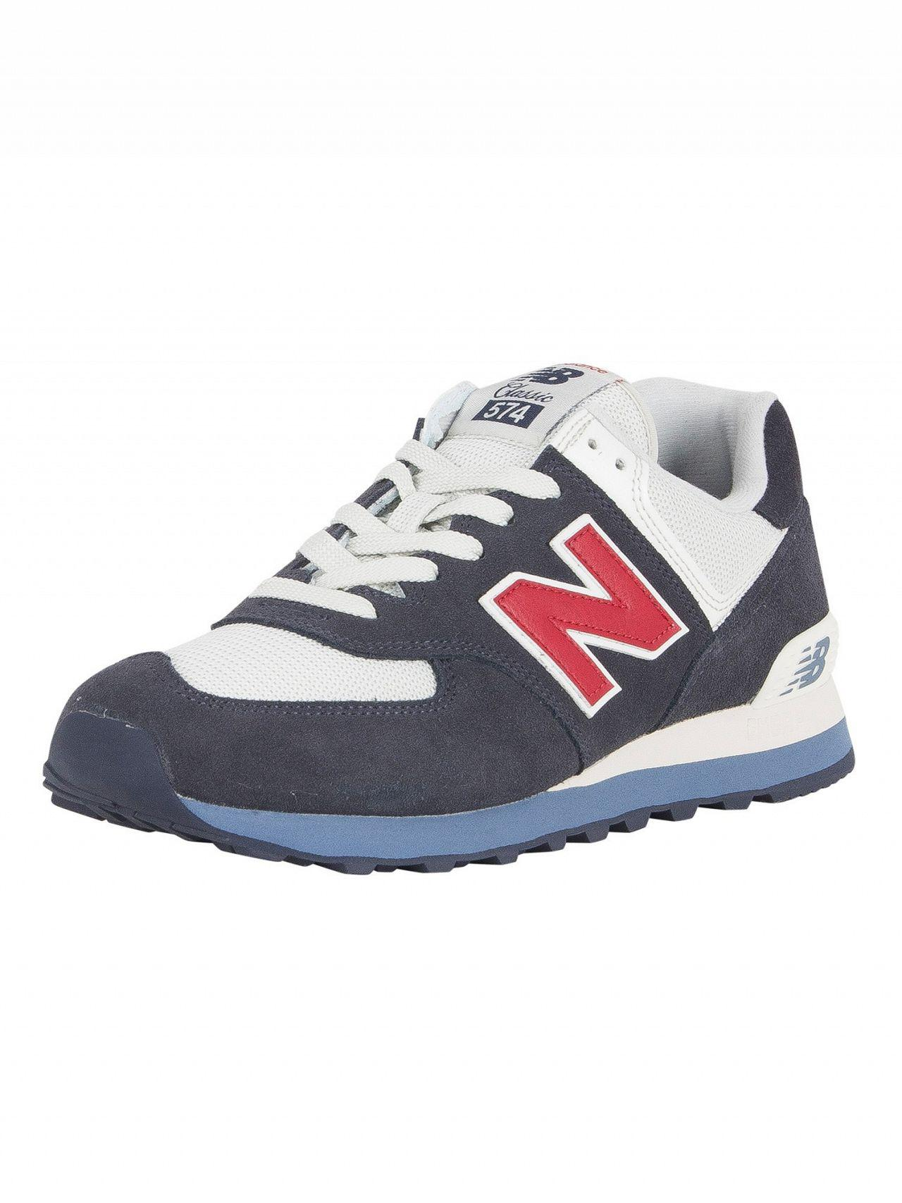 Lyst - New Balance Navy red 574 Suede Trainers in Blue for Men ... 30fff2b6b79b