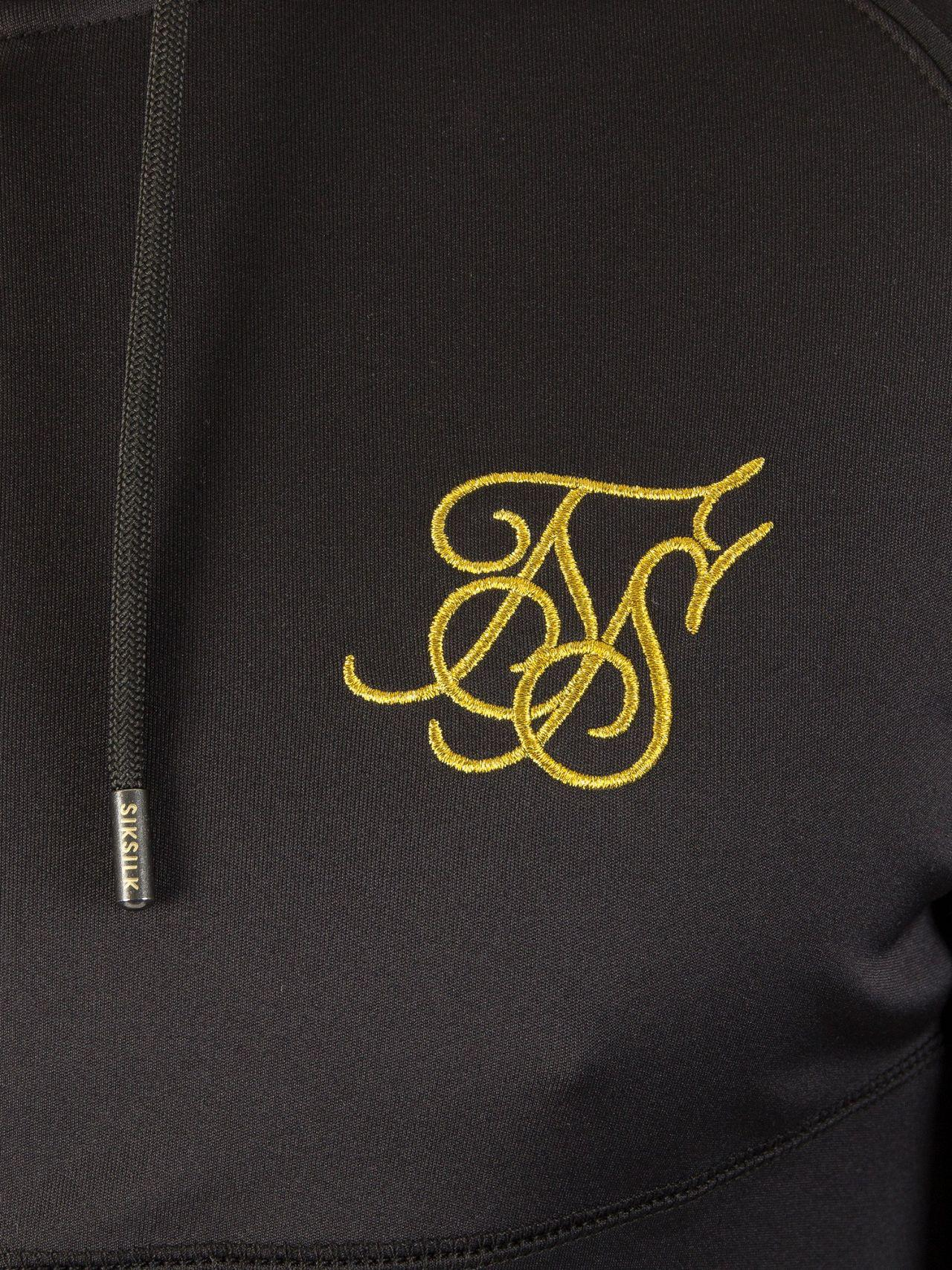 Lyst - Sik Silk Black gold Zonal Zip Logo Track Top Hoodie in Black ... 8c20d6369462