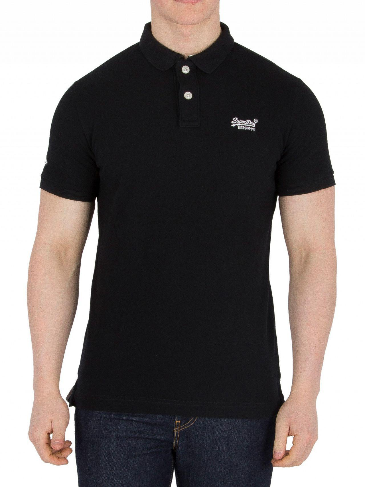 8456fcaa7 Superdry Black Classic Pique Logo Polo Shirt in Black for Men - Lyst