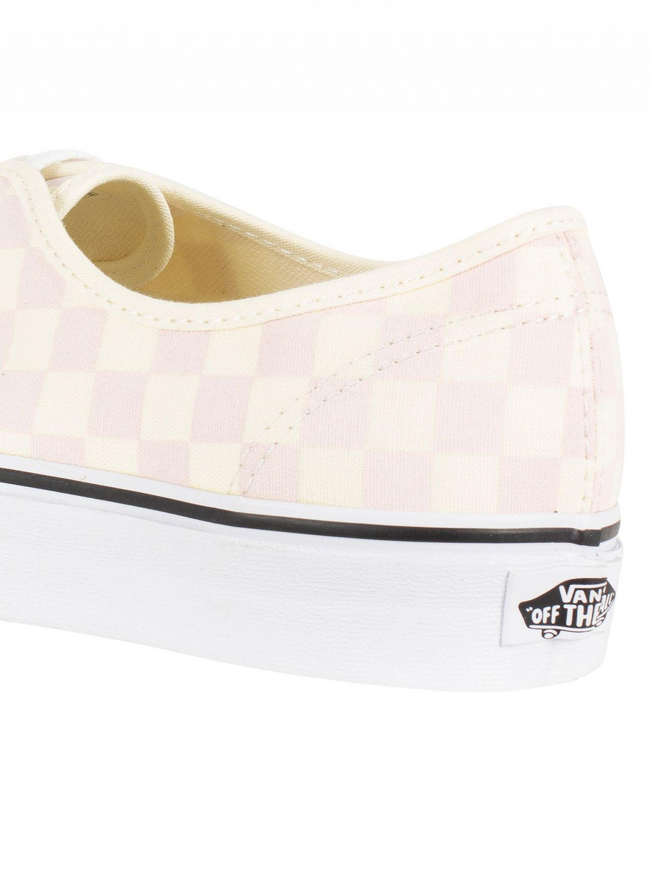 58b663120ca3b9 Lyst - Vans Chalk Pink Authentic Checkerboard Trainers in White for Men