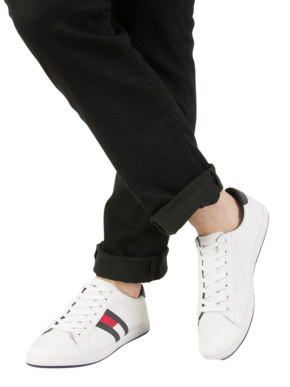 b20797a3b Tommy Hilfiger - White Essential Flag Trainers for Men - Lyst. View  fullscreen