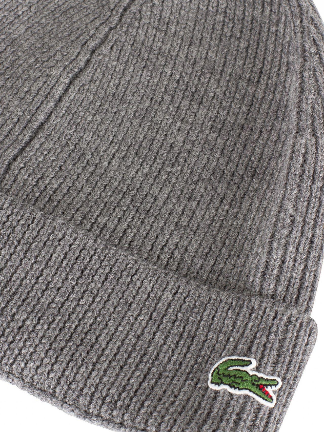 Lacoste - Gray Grey Logo Beanie for Men - Lyst. View fullscreen d6cd4632b380