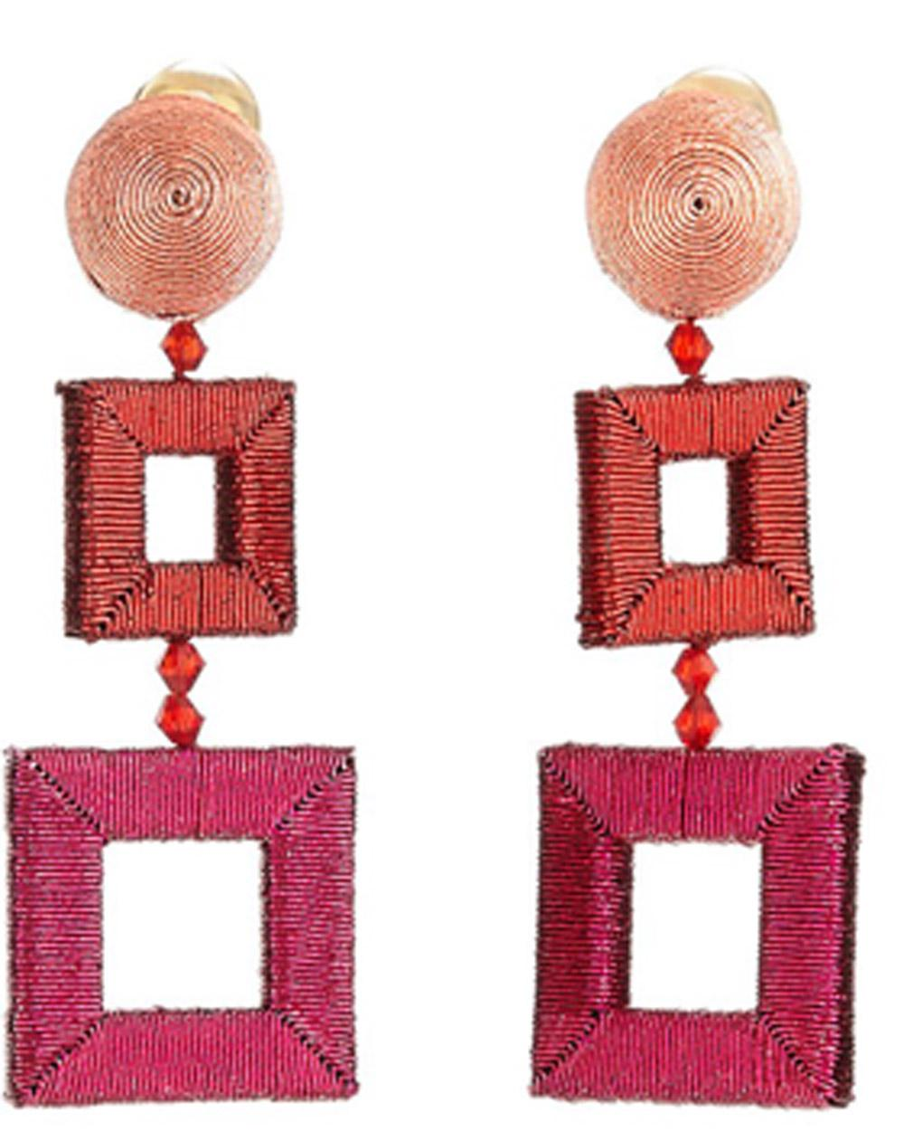 Oscar De La Renta Silk-Wrapped Double-Square Earrings O26EM