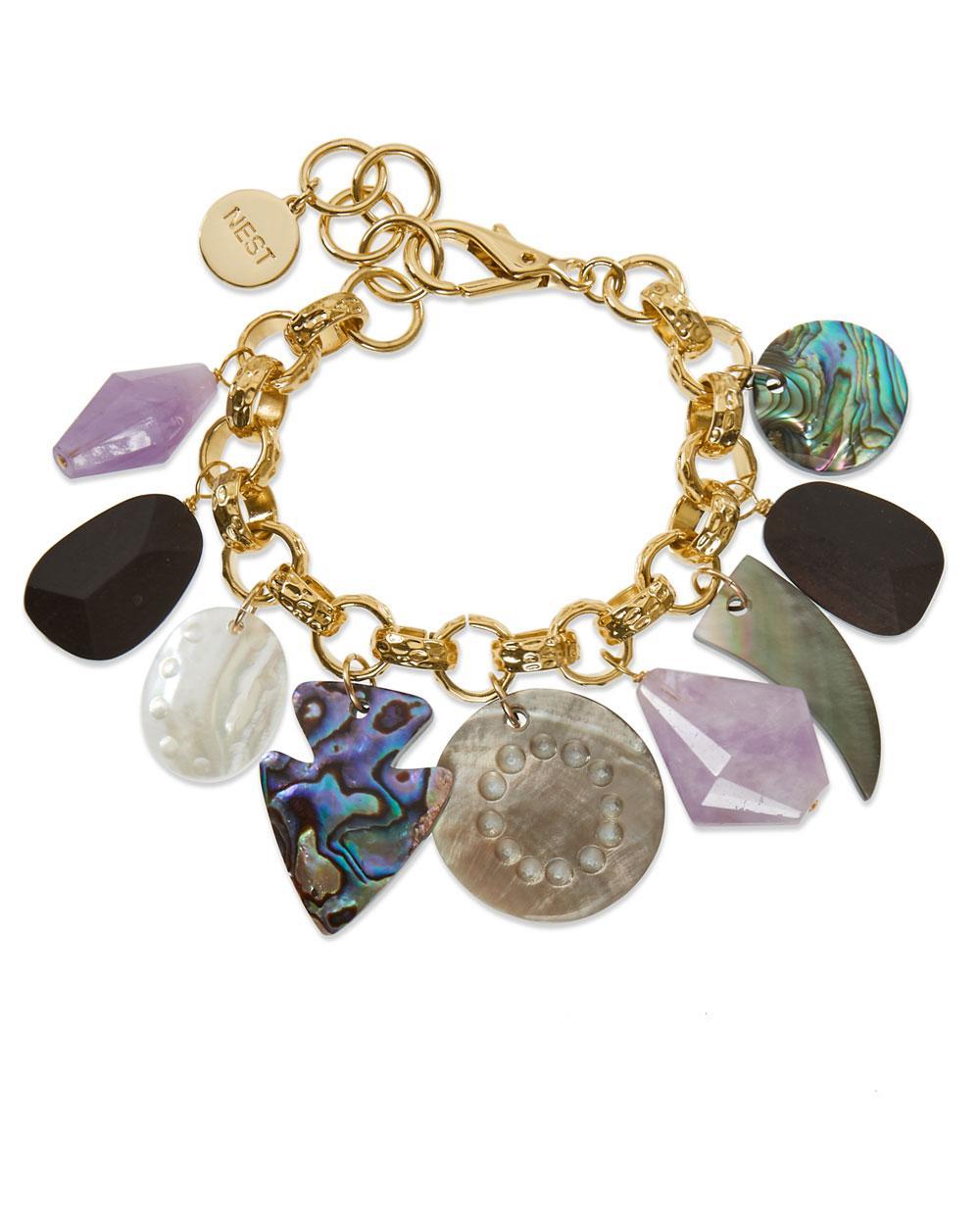 Nest Mother-of-Pearl & Amethyst Charm Bracelet onf7rJWmdC
