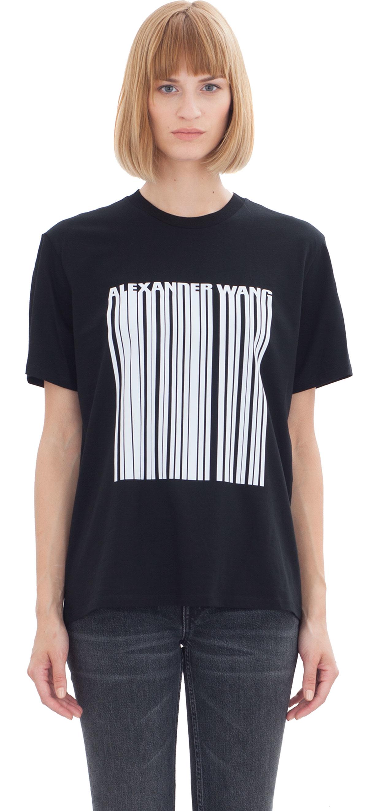 Alexander Wang Printed Cotton T Shirt In Black Lyst