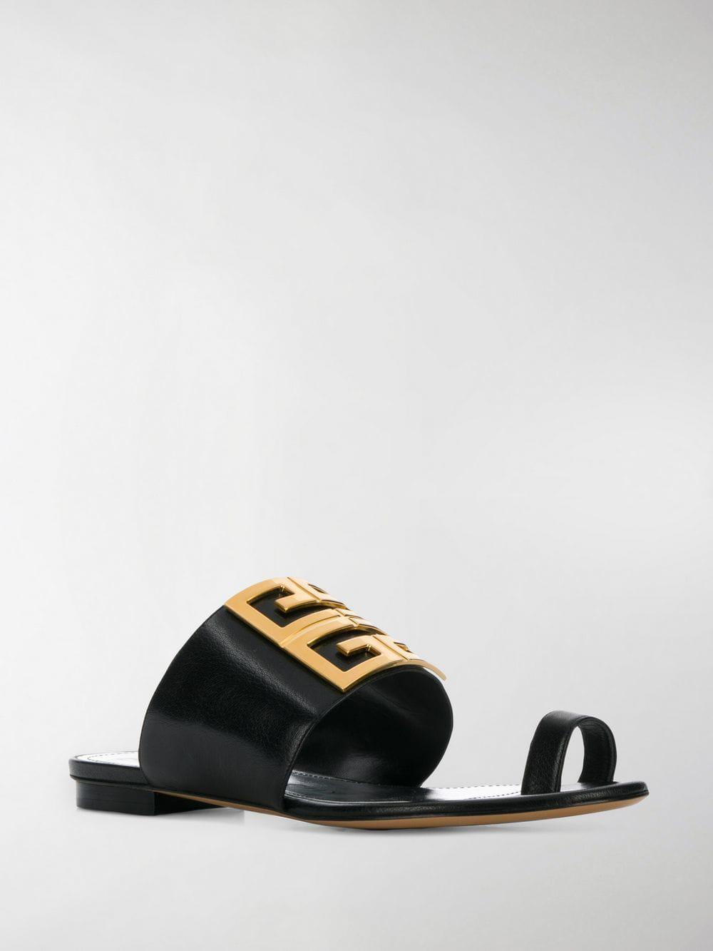 cc264433a88e Lyst - Givenchy Black 4g Flat Leather Buckle Sandals in Black