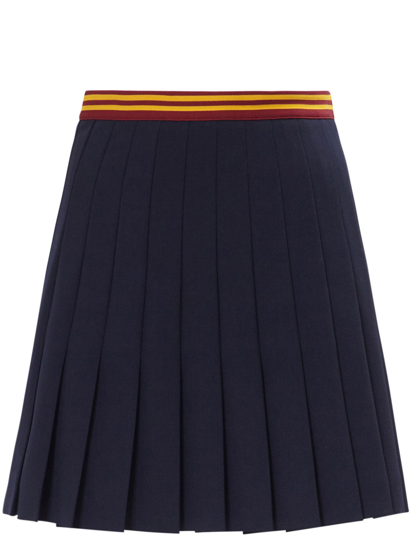 miu miu pleated wool mini skirt in blue lyst