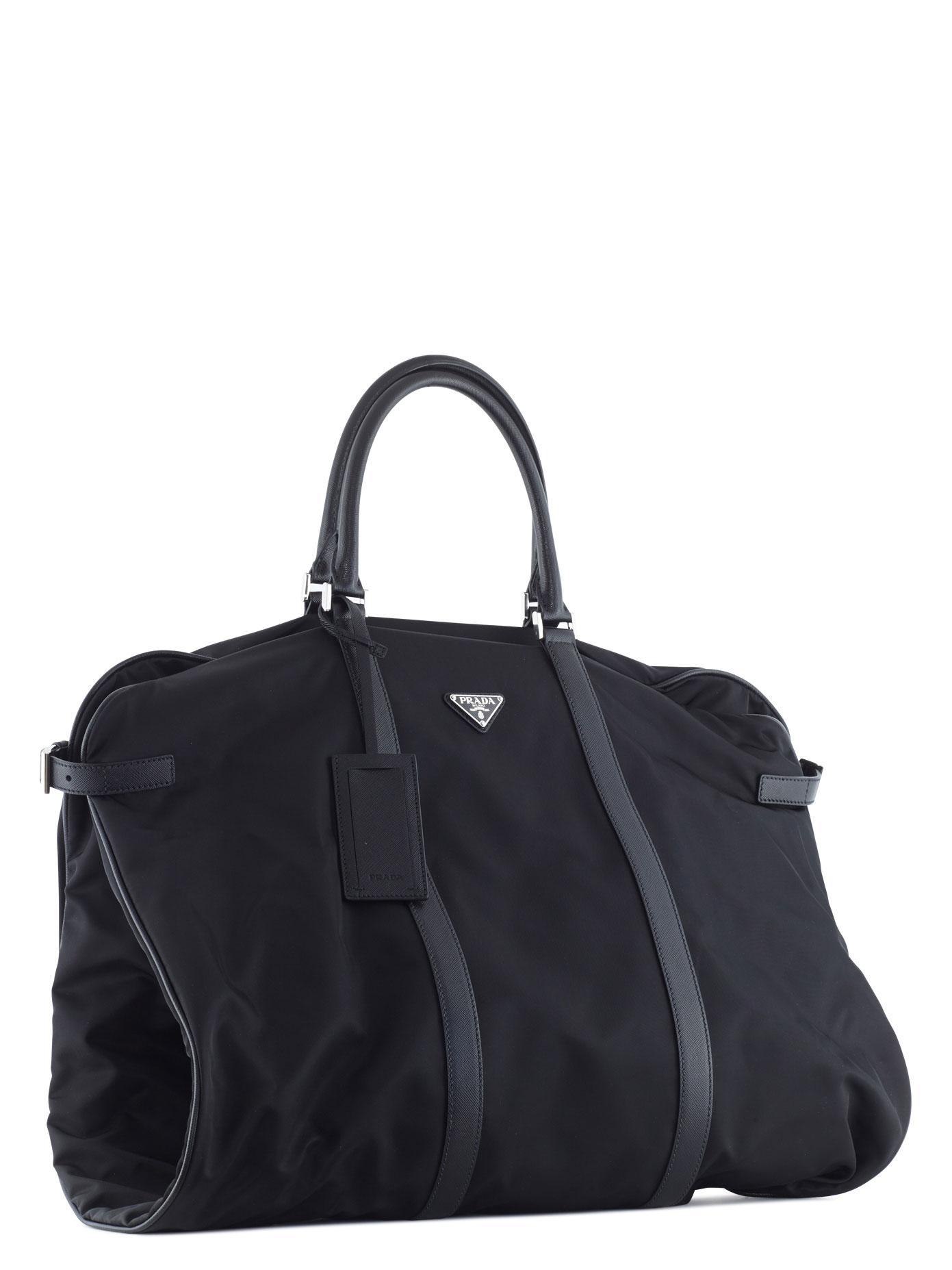 Prada Nylon And Leather Garment Bag In Black For Men Lyst