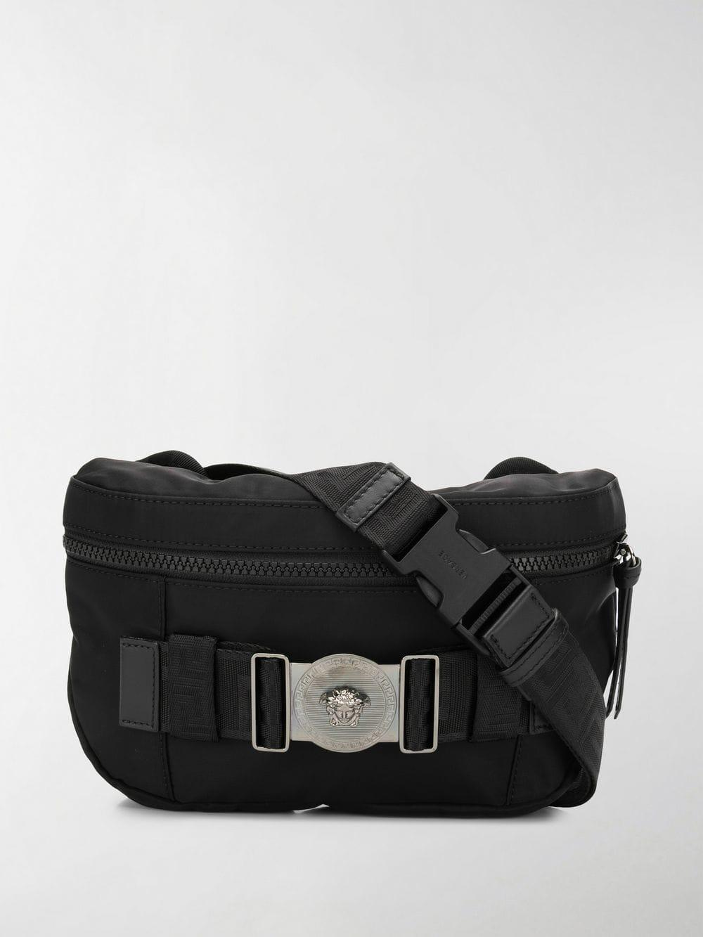 ed8e2b0d7ca6 Lyst - Versace Greca Ribbon Belt Bag in Black for Men