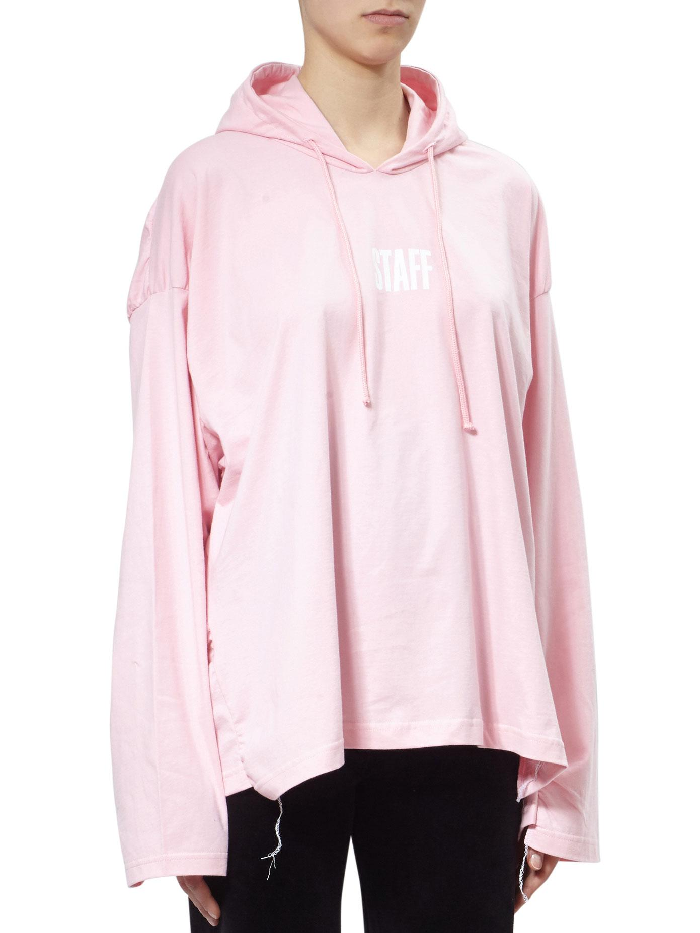 vetements hanes staff cotton hoodie in pink lyst