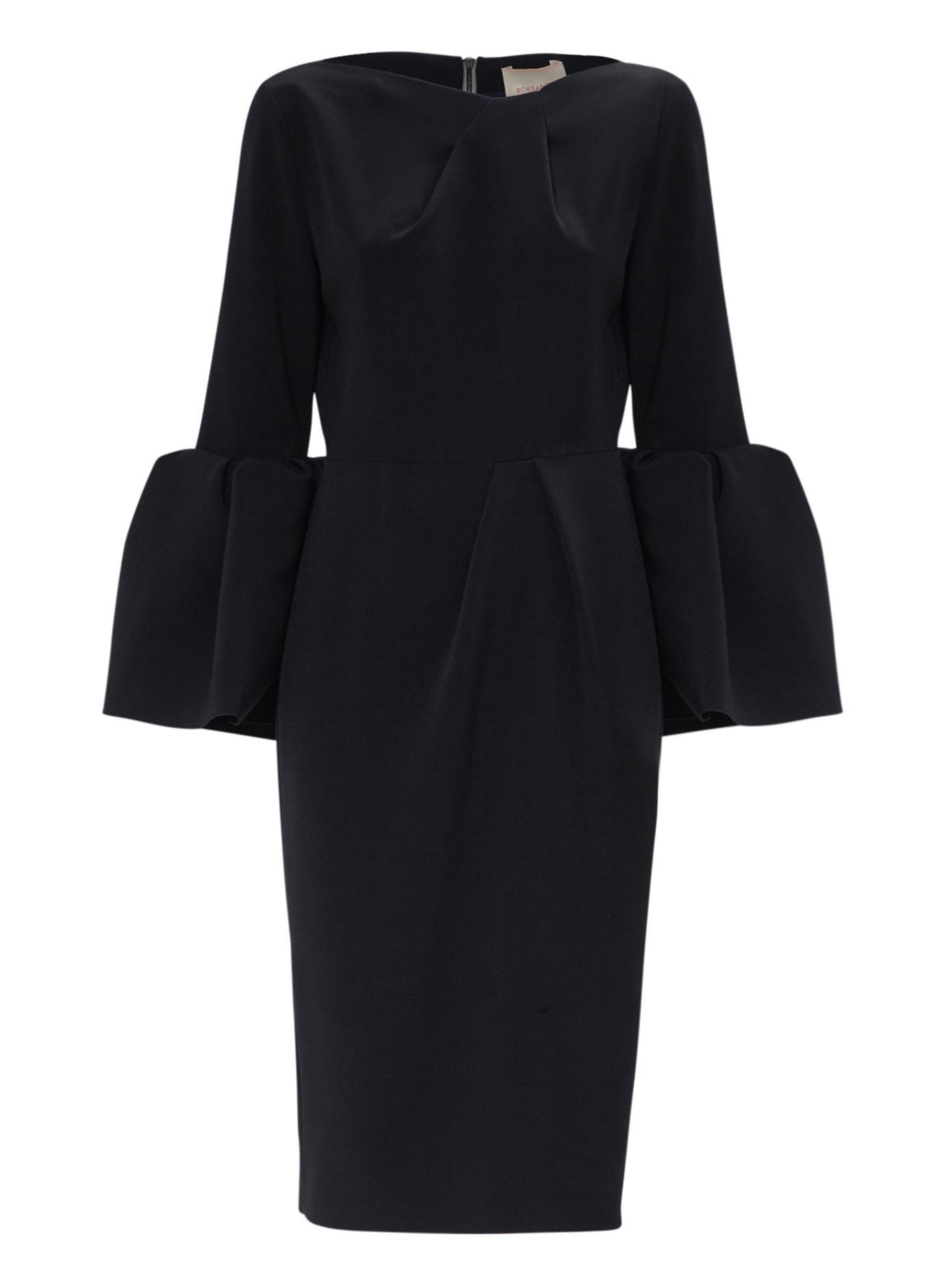 Roksanda Bell Sleeve Midi Dress In Black Lyst