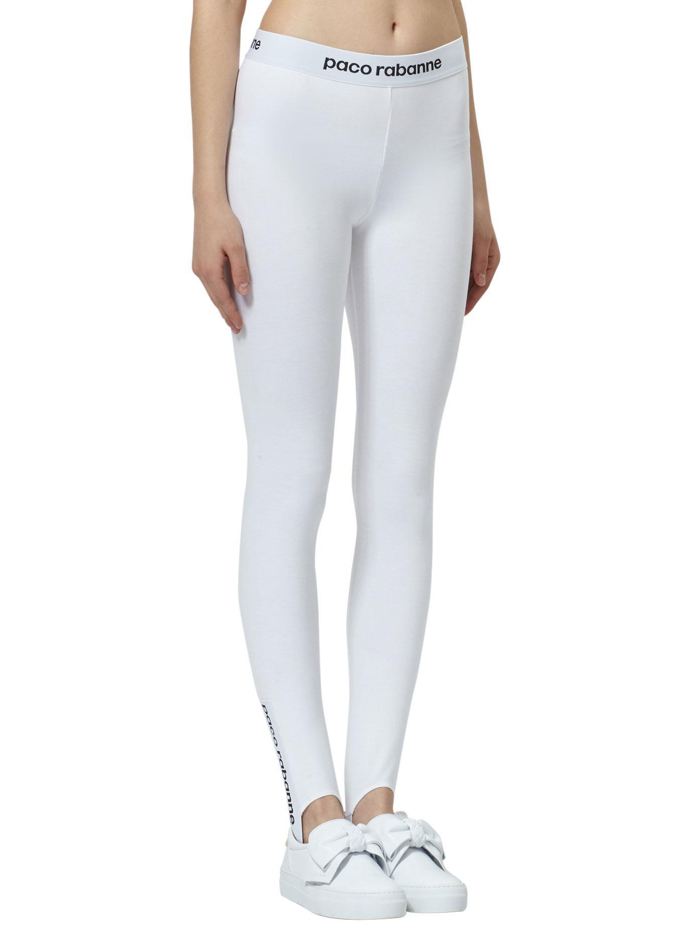 paco rabanne logo print leggings in white lyst