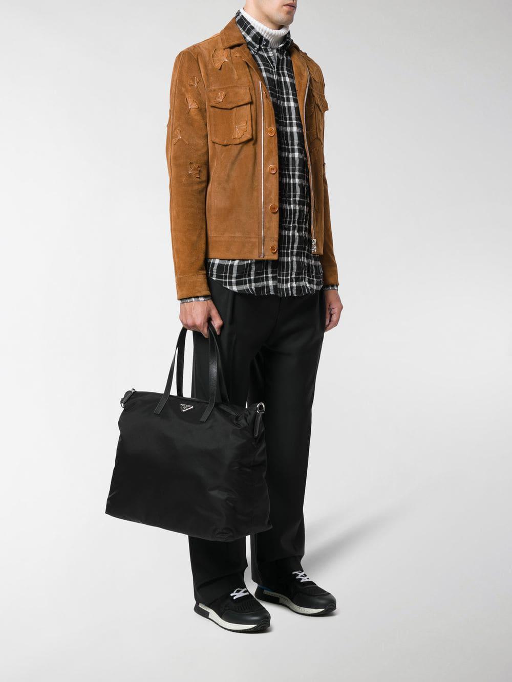 7a711fd1c431 Prada - Black Logo Plaque Tote Bag for Men - Lyst. View fullscreen