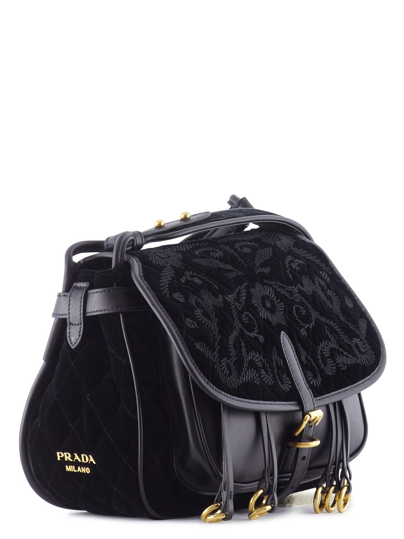 fd1482163942 Prada Corsaire Embroidered Velvet And Leather in Black - Lyst