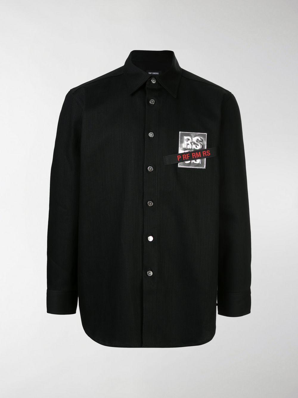 ed1e4a3beb Raf Simons - Black Logo Patch Denim Shirt for Men - Lyst. View fullscreen