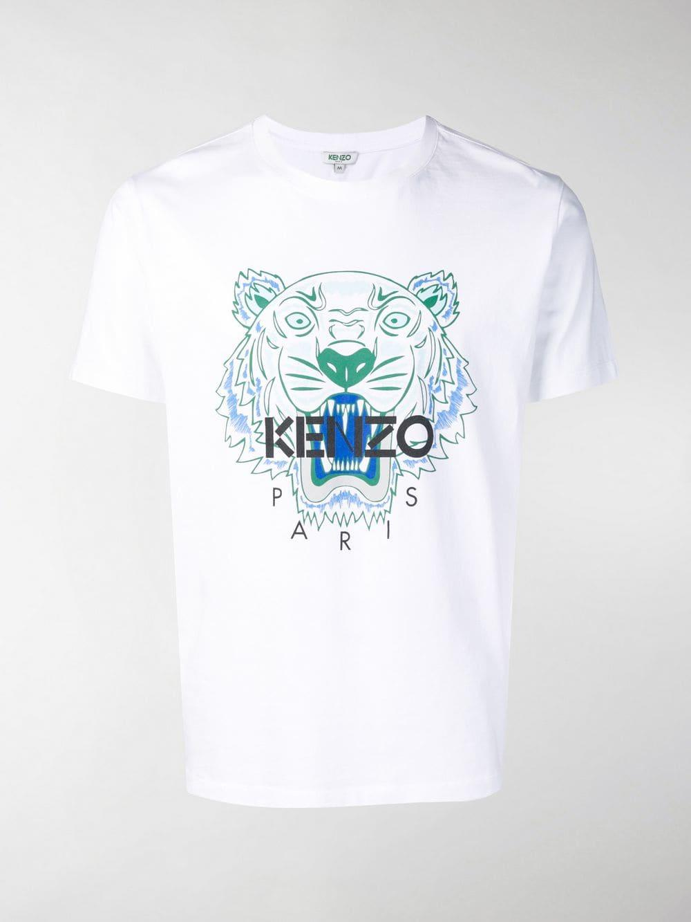 ae10128f KENZO - White Tiger Print T-shirt for Men - Lyst. View fullscreen