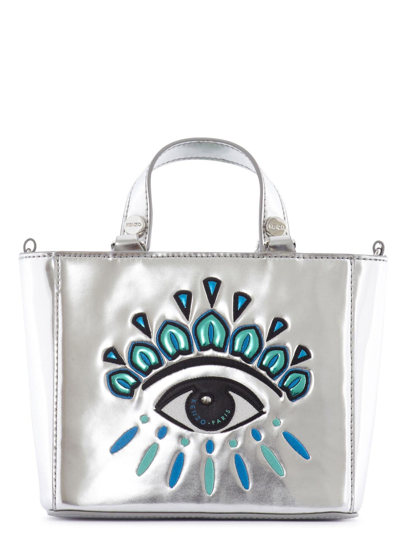 7ebf50919a KENZO Embroidered Eye Mirror Leather Tote in Metallic - Lyst