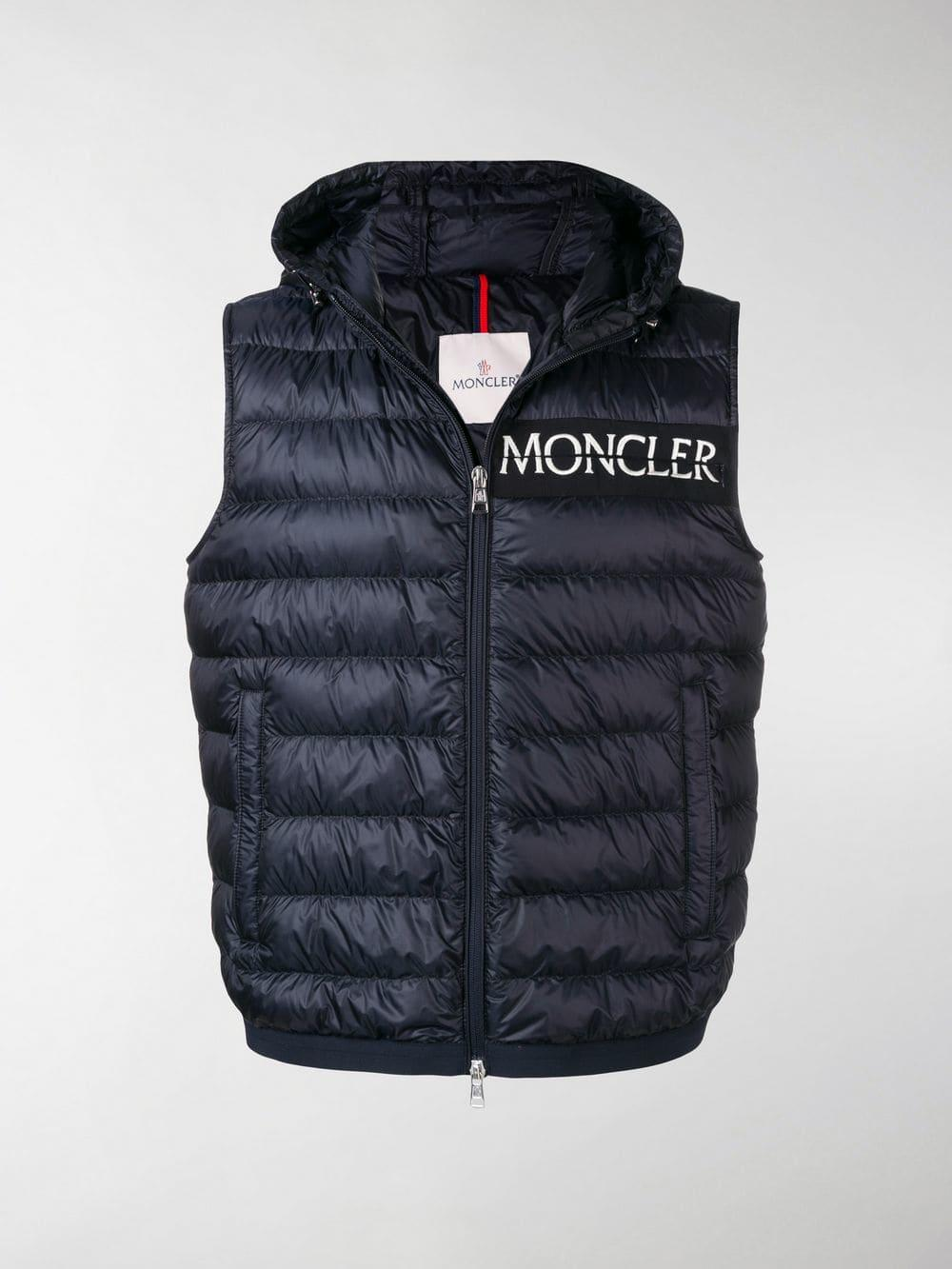 c7947e19f Lyst - Moncler Hooded Padded Gilet Jacket in Blue for Men