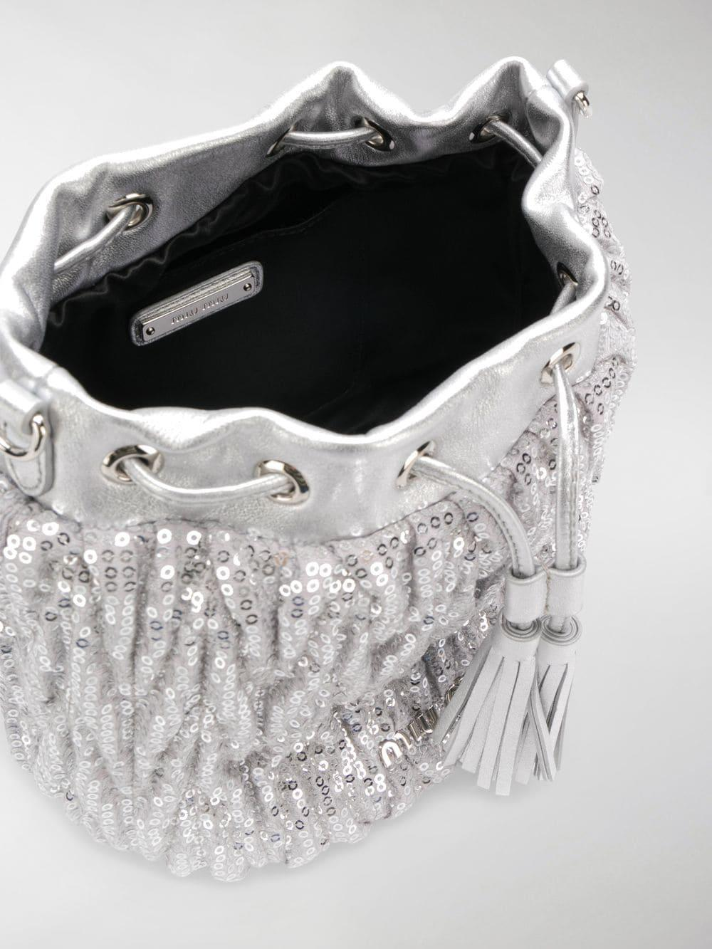 Miu Miu - Metallic Sequined Bucket Bag - Lyst. View fullscreen f807b57c56