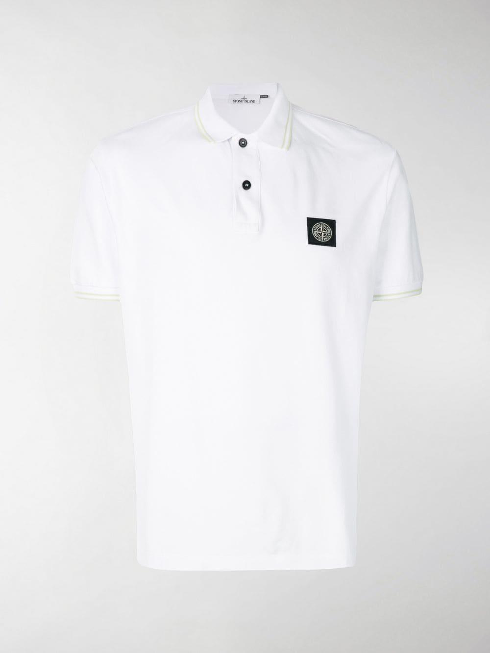 7ce74efe Lyst - Stone Island Logo Polo Shirt in White for Men