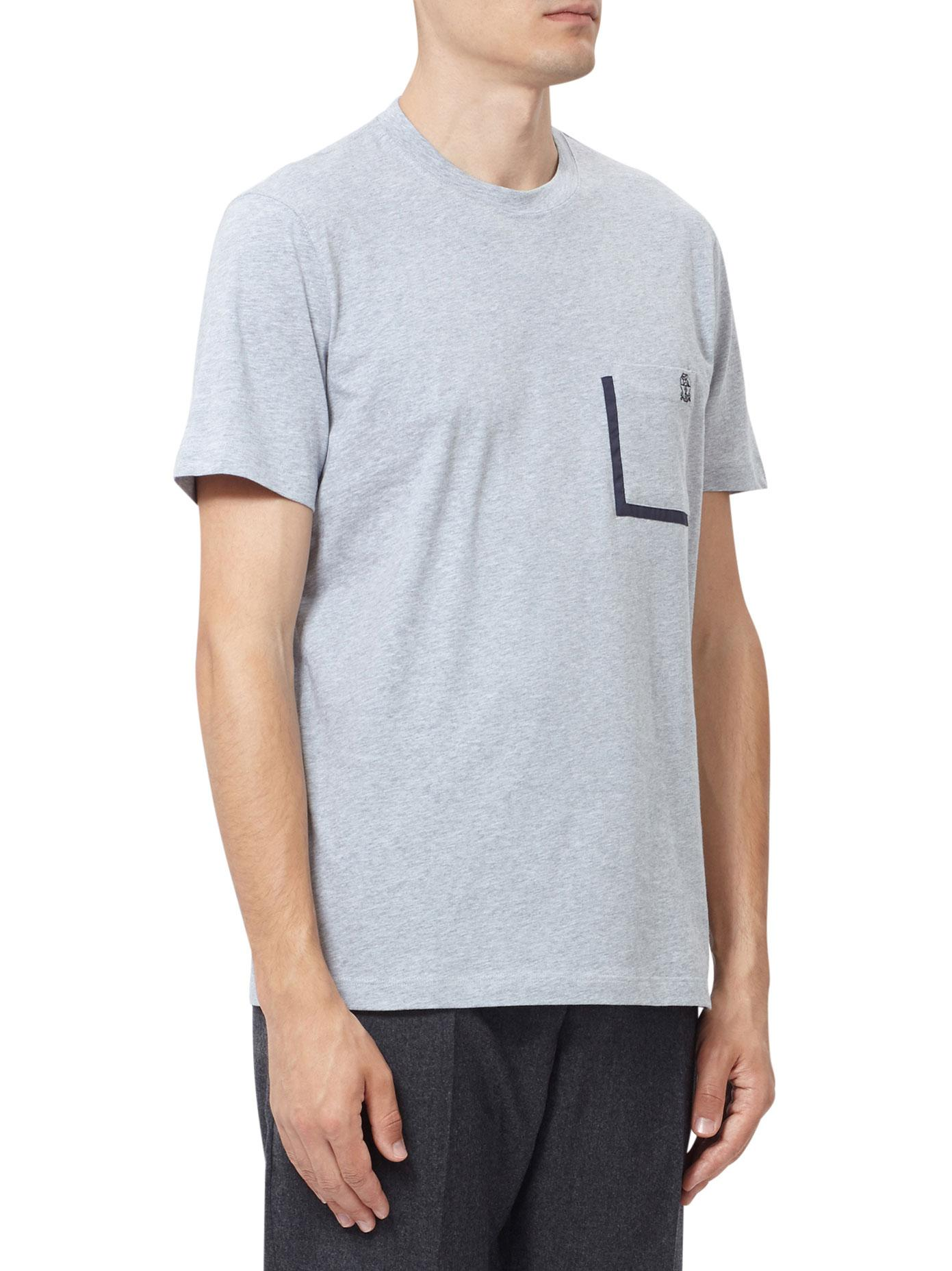 68f33270 Lyst - Brunello Cucinelli Cotton Logo Pocket T-shirt in Gray for Men