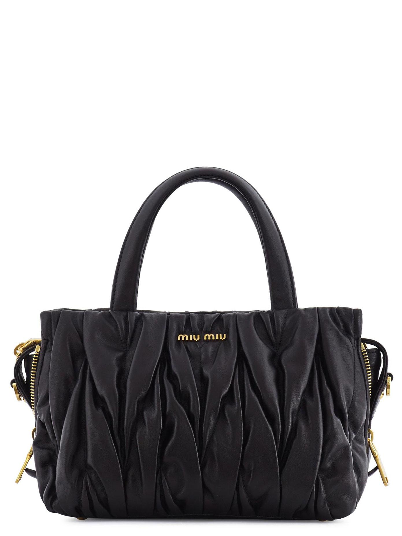 20f46788b0a3 Miu Miu Small Matelassé Tote Bag in Black - Lyst