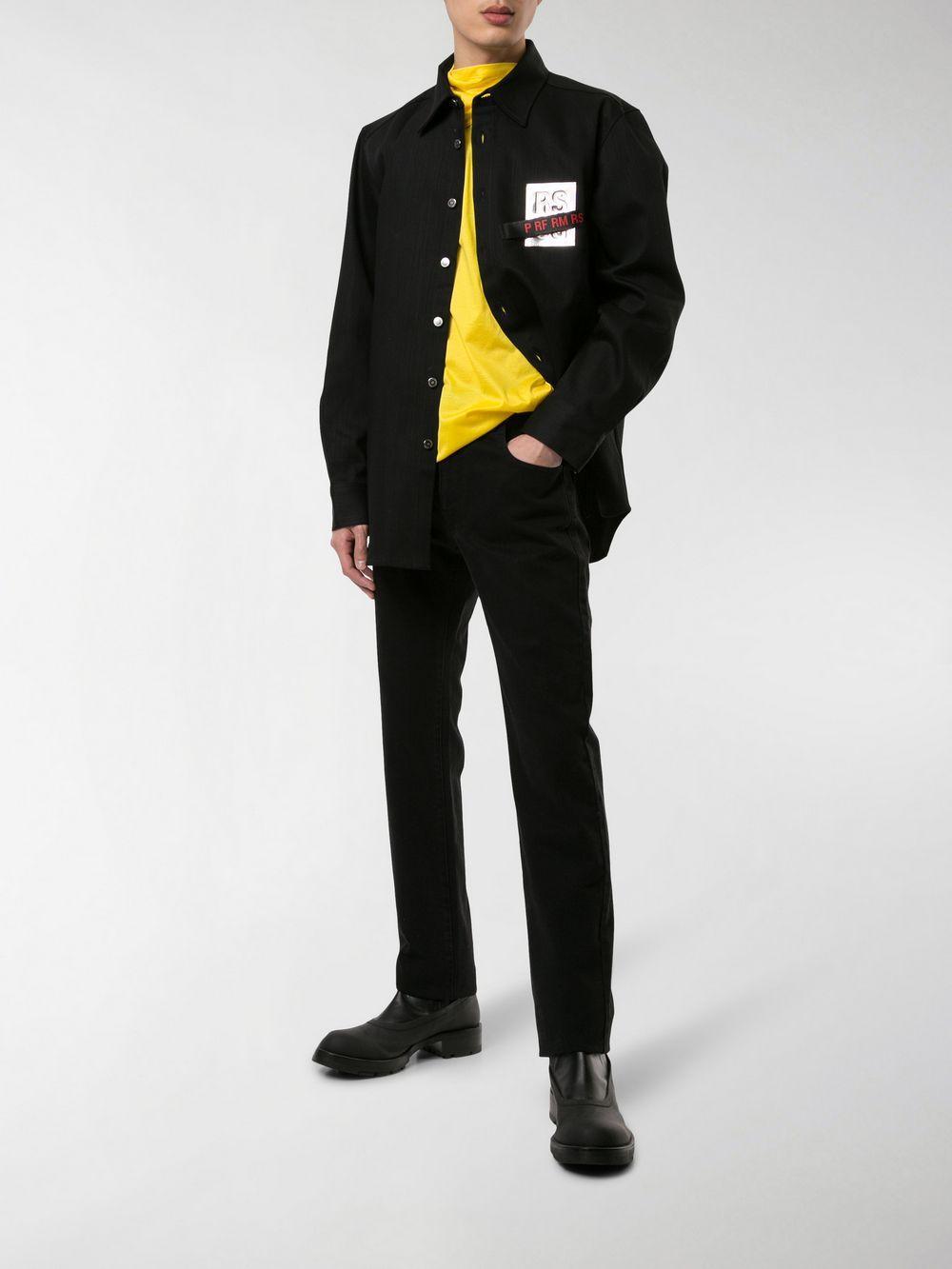 457a6e2c73 Lyst - Raf Simons Logo Patch Denim Shirt in Black for Men - Save 7%