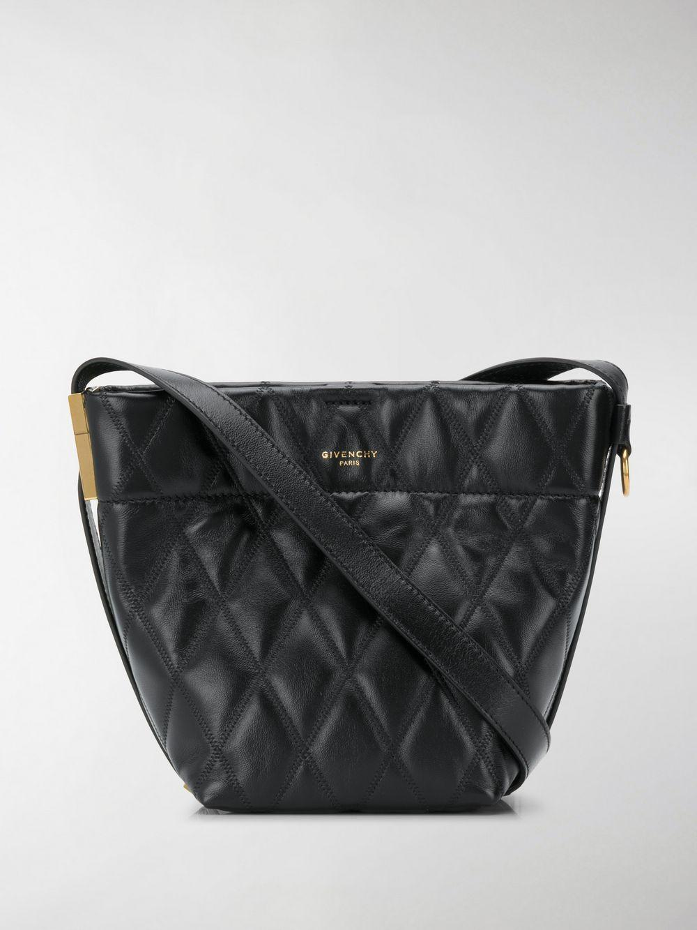 f845a69882 Lyst - Givenchy Black Gv Mini Quilted Leather Bucket Bag in Black