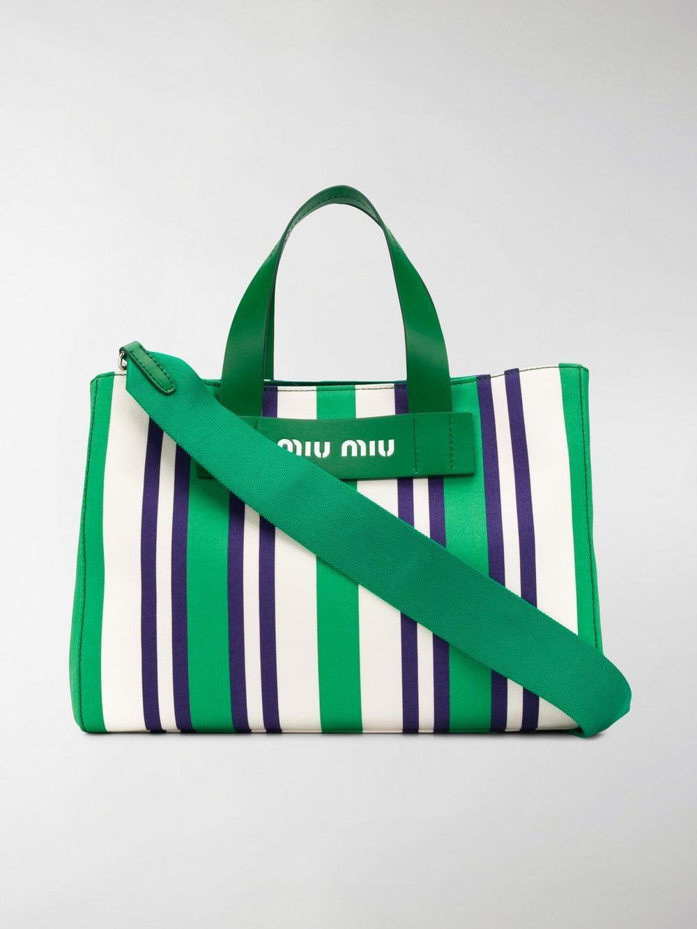 Miu Miu Striped Logo Tote Bag in Green - Lyst 2f46715d9b