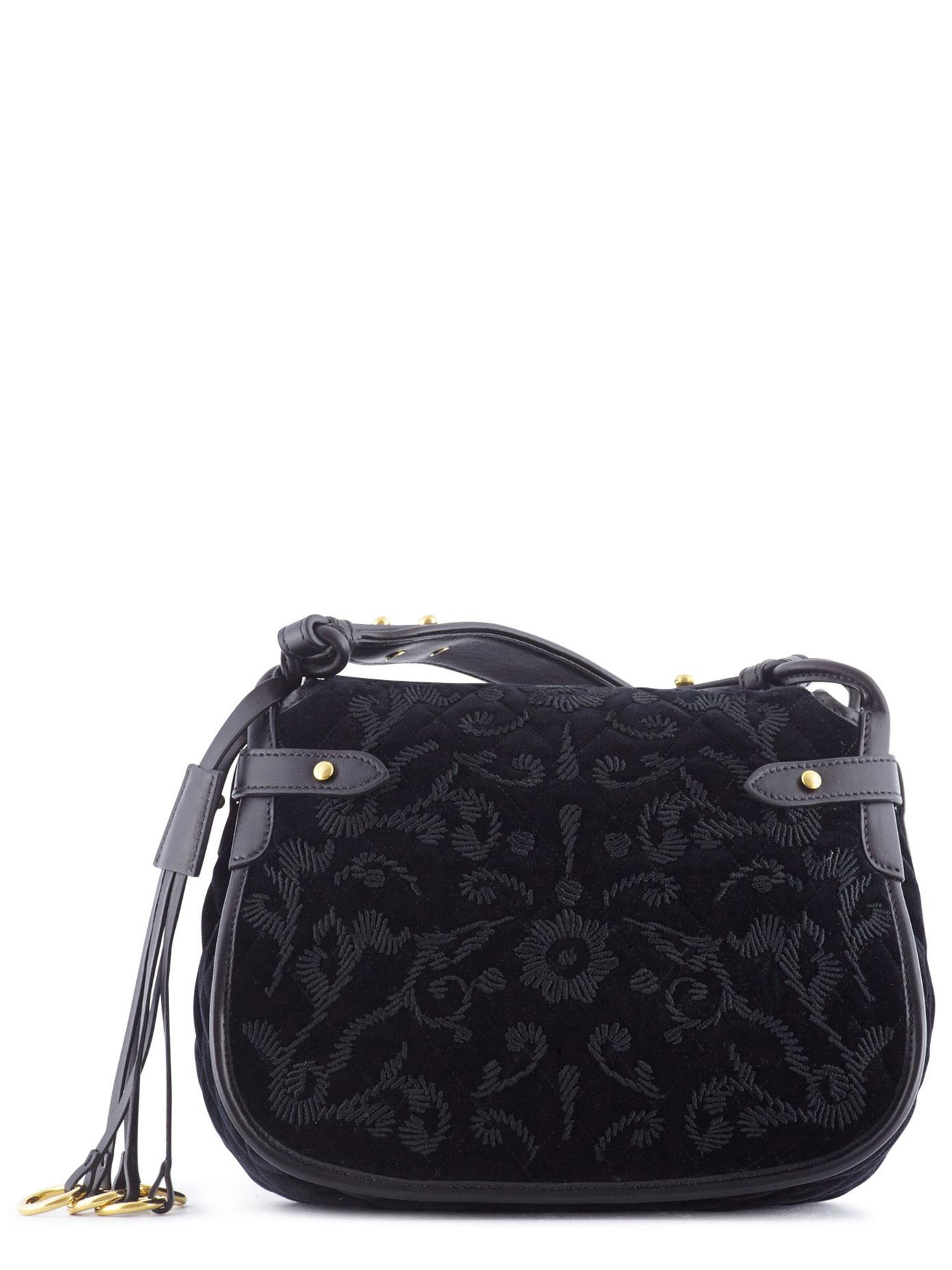 902d44b84fb4 Lyst - Prada Corsaire Embroidered Velvet And Leather in Black