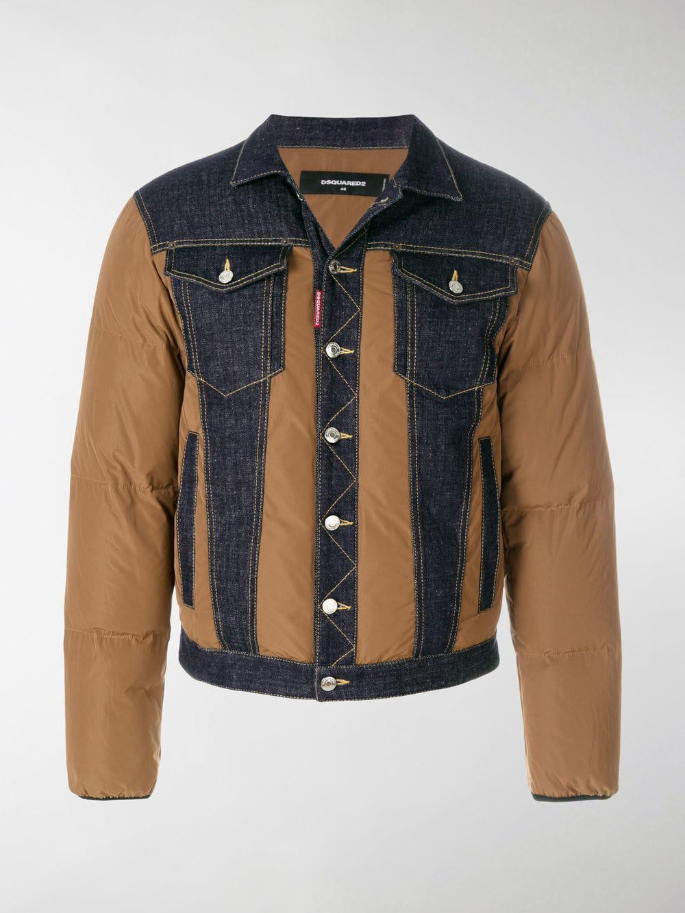 3cc509d03899be Dsquared² Padded Denim Jacket in Brown for Men - Lyst