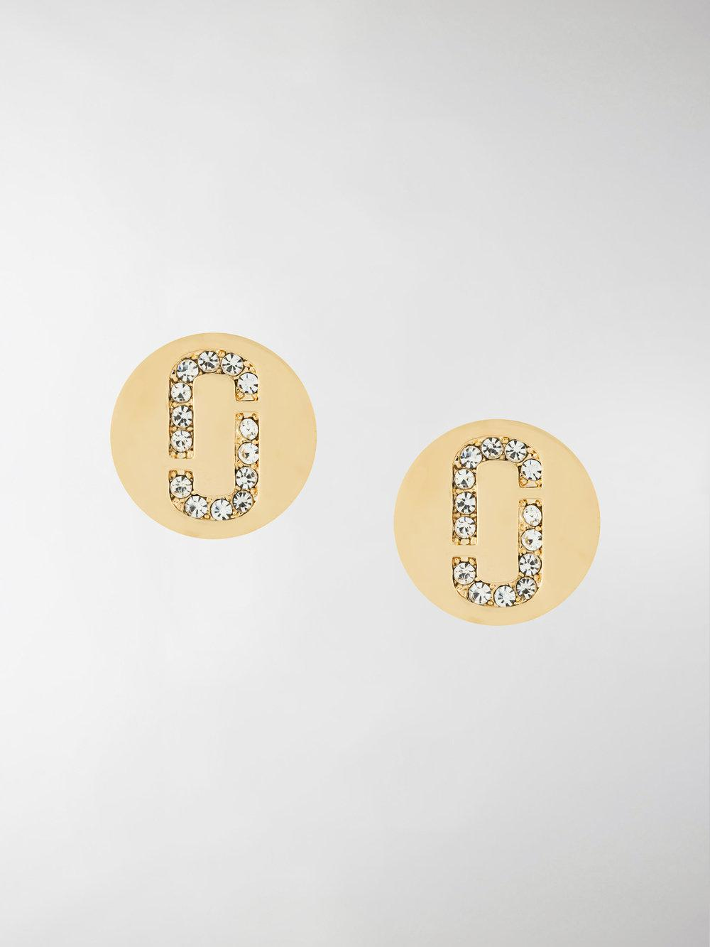 Marc Jacobs Double J Pave stud earrings - Metallic DMEunM