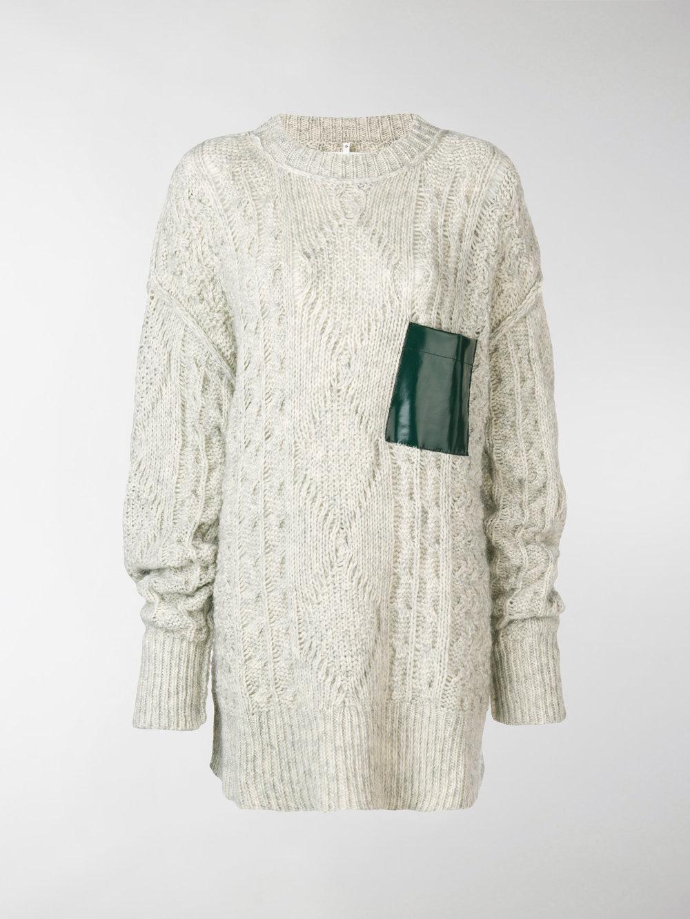 Contrastpatch Cable Knit Sweater Grey Maison Martin Margiela