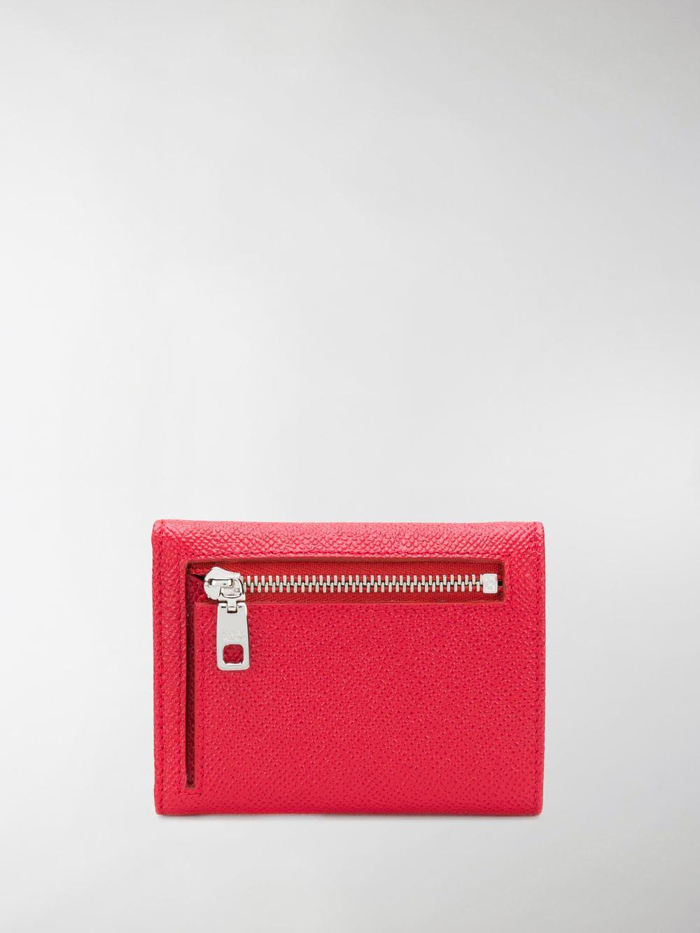 64e0a4cabf3 Dolce   Gabbana Diamante Dg Logo Pebbled Leather Wallet in Red - Lyst