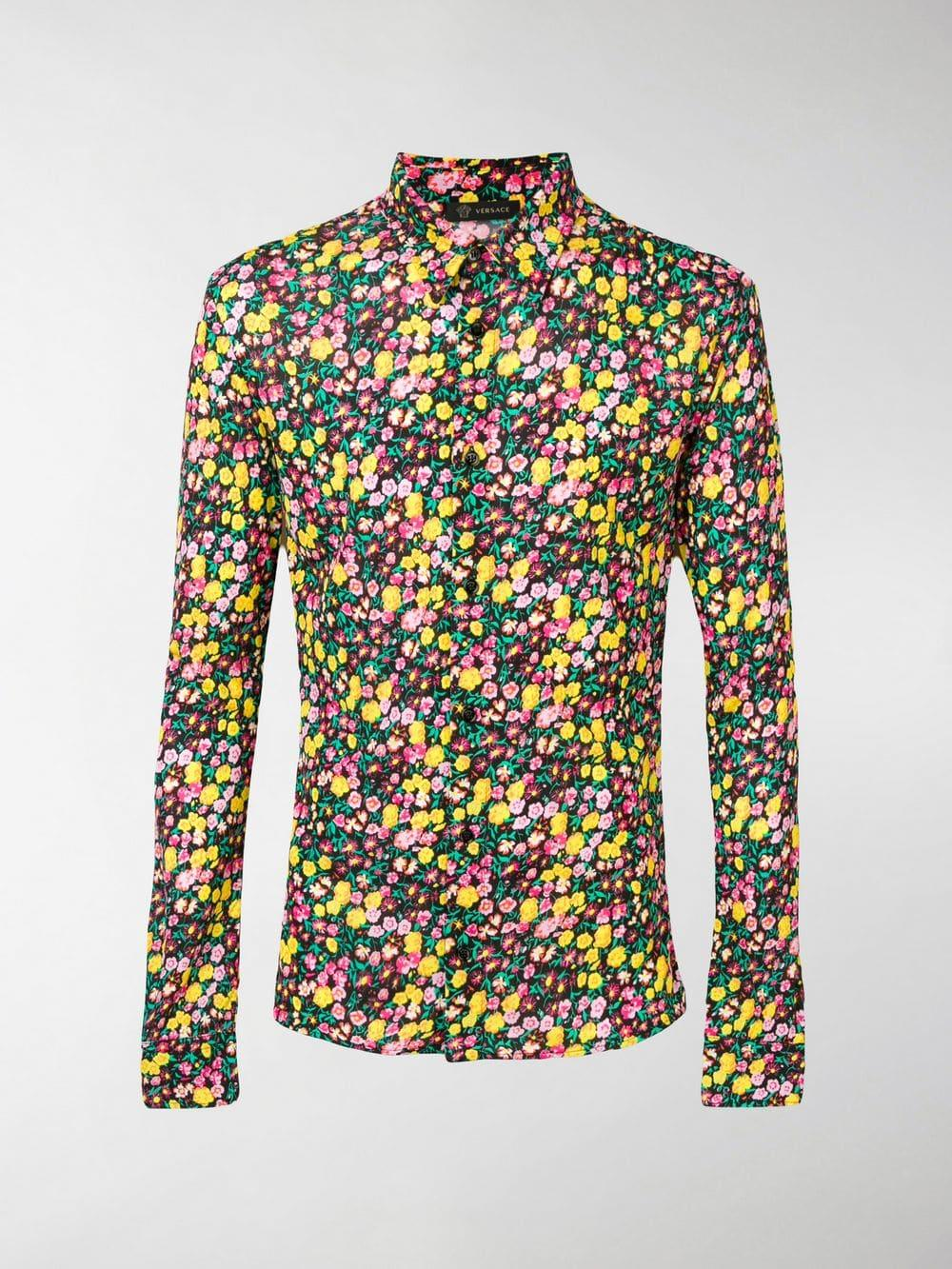 e96944879 Lyst - Versace Floral-print Shirt in Black for Men