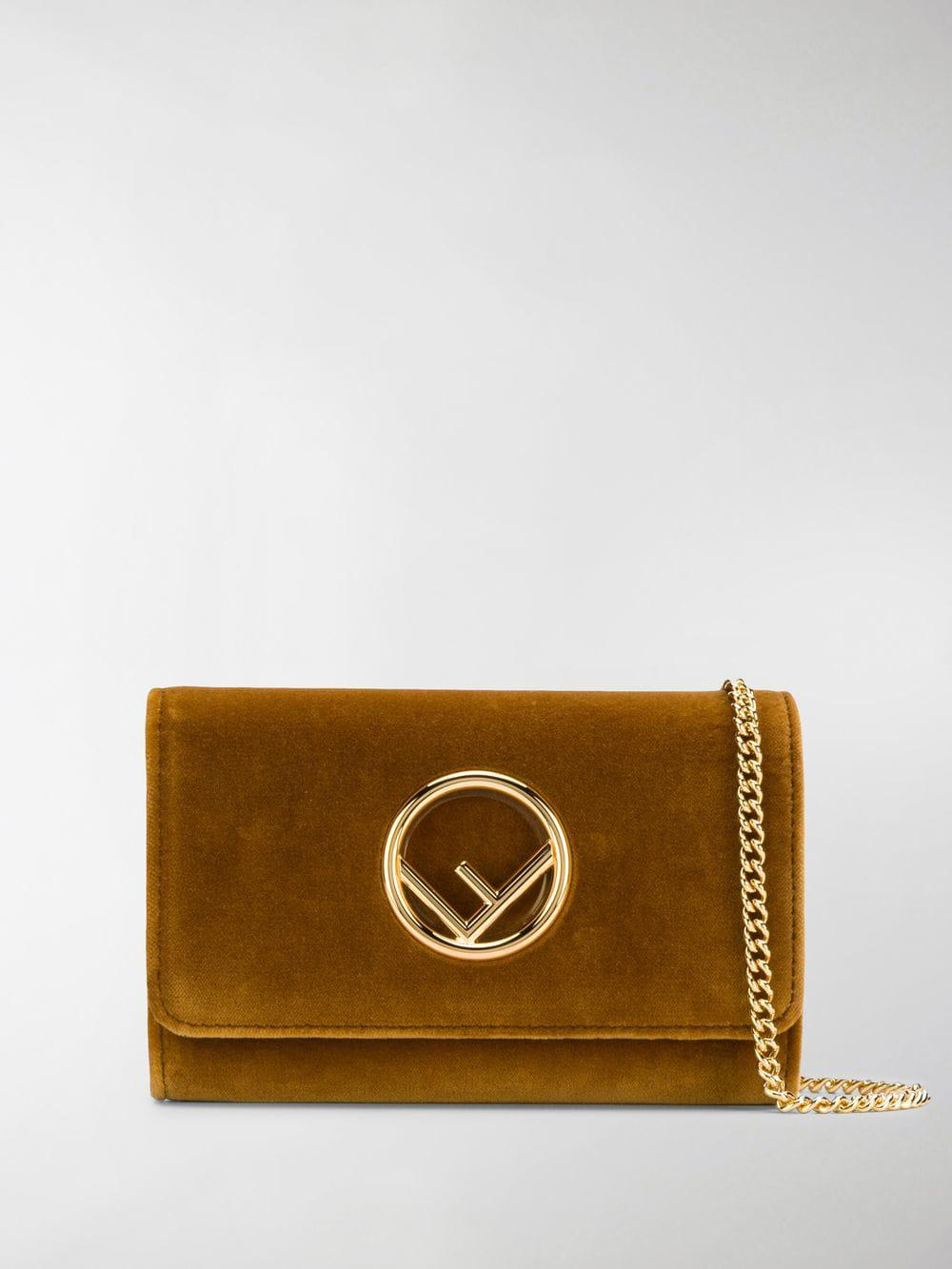 d7ea6eb1981b Fendi Velvet Wallet On Chain Mini Bag in Brown - Lyst
