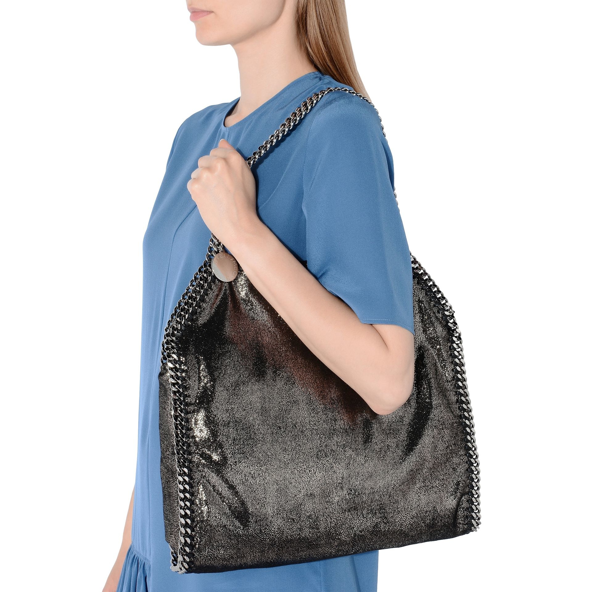 f579237ad04f Lyst - Stella McCartney Falabella Shiny Small Tote in Gray