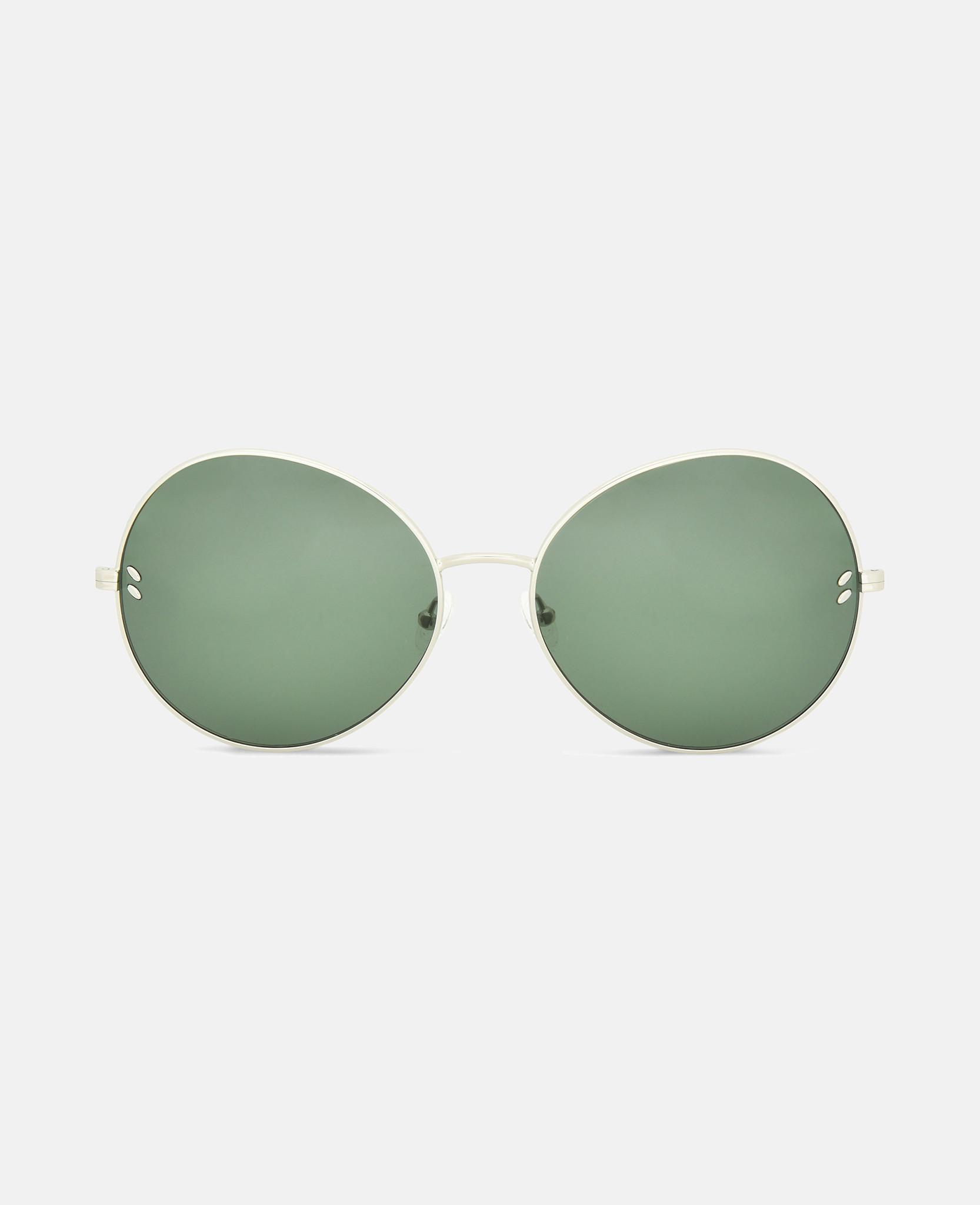7a561aa75d Lyst - Stella McCartney Metal Green Round Sunglasses in Gray
