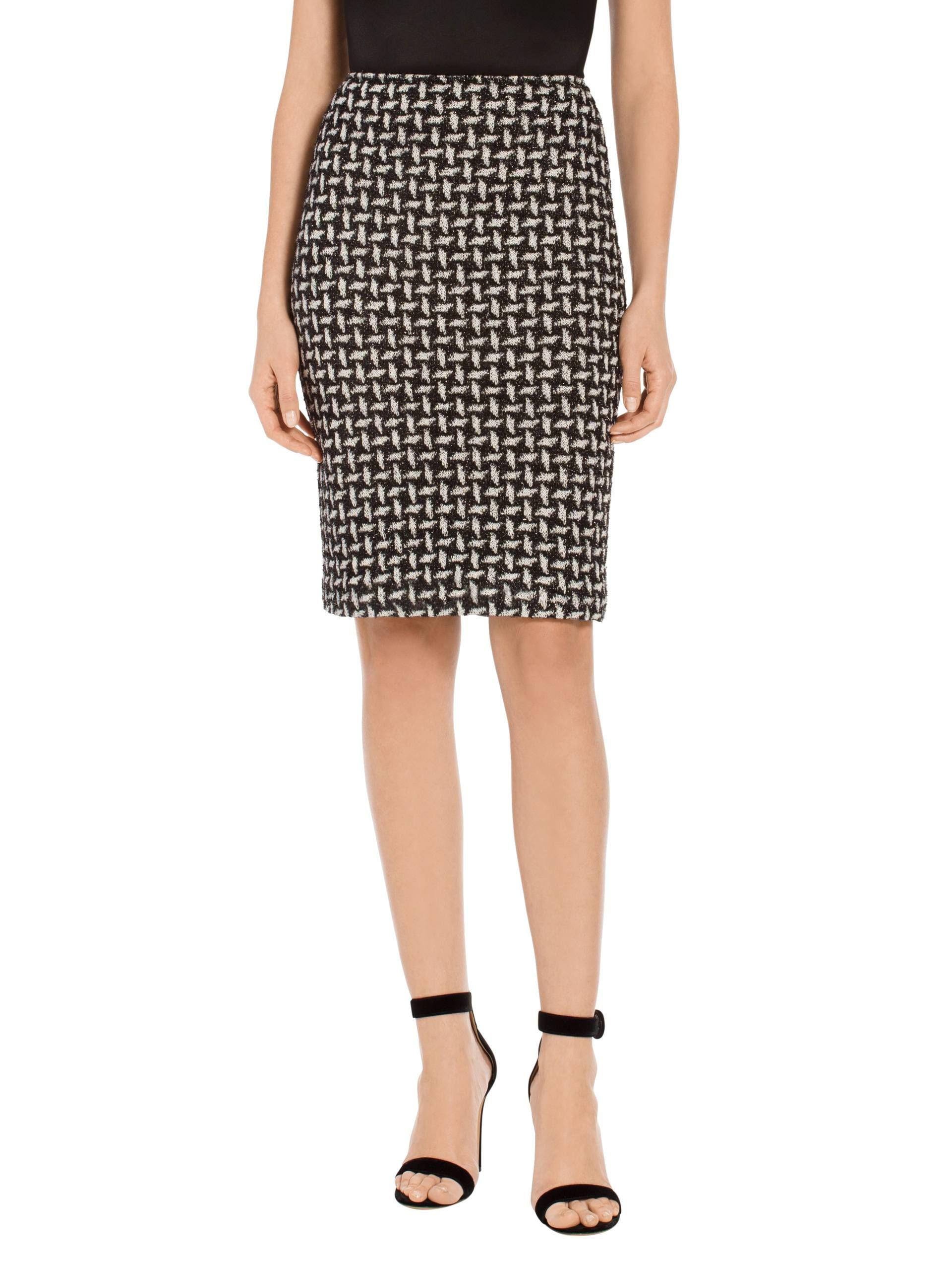 e15d7d949d St. John Contrast Shine Dash Knit Pencil Skirt in Black - Lyst