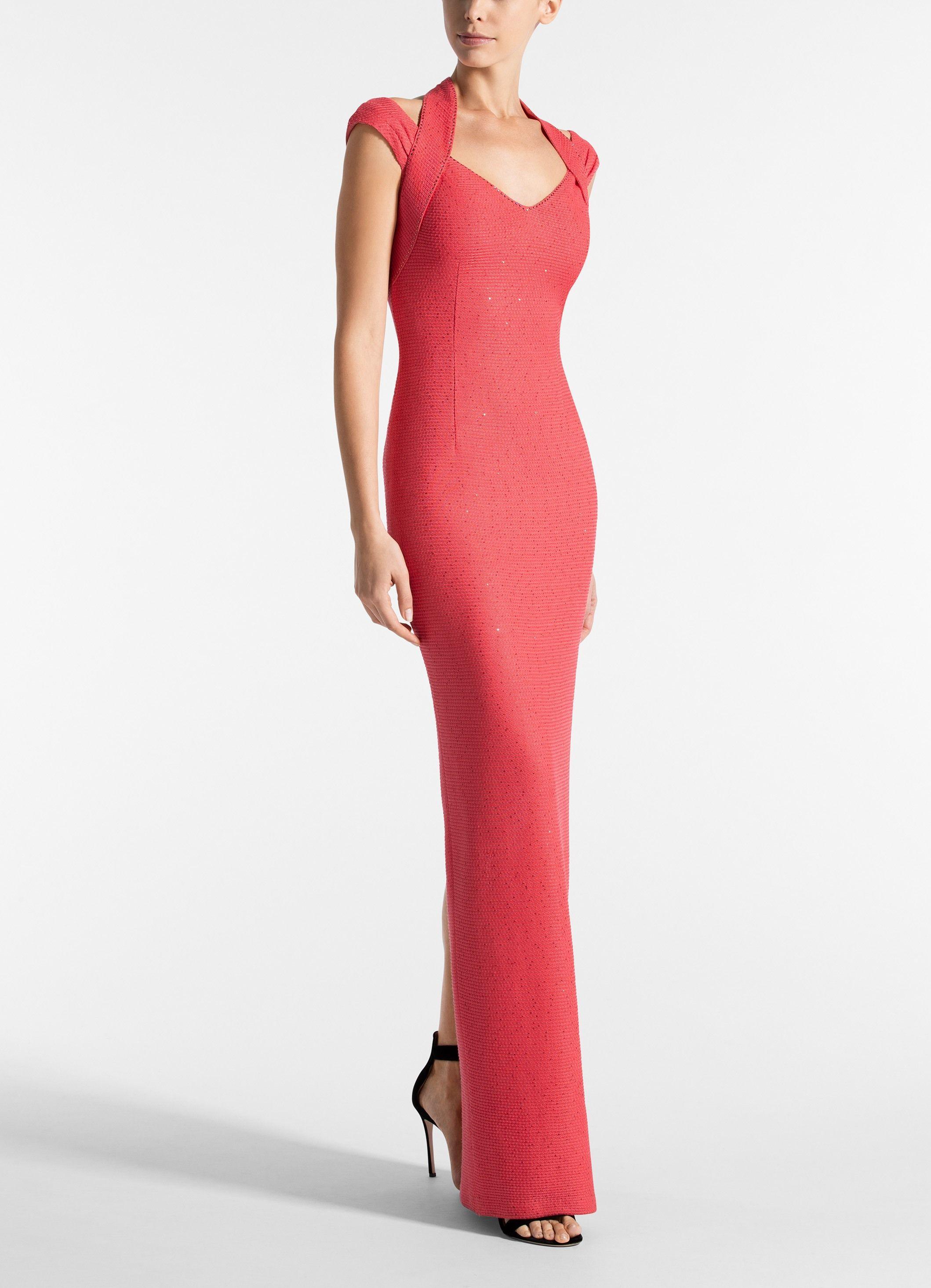 528af9699ef7 St. John - Red Links Sequin Knit V-neck Halter Drape Gown - Lyst. View  fullscreen