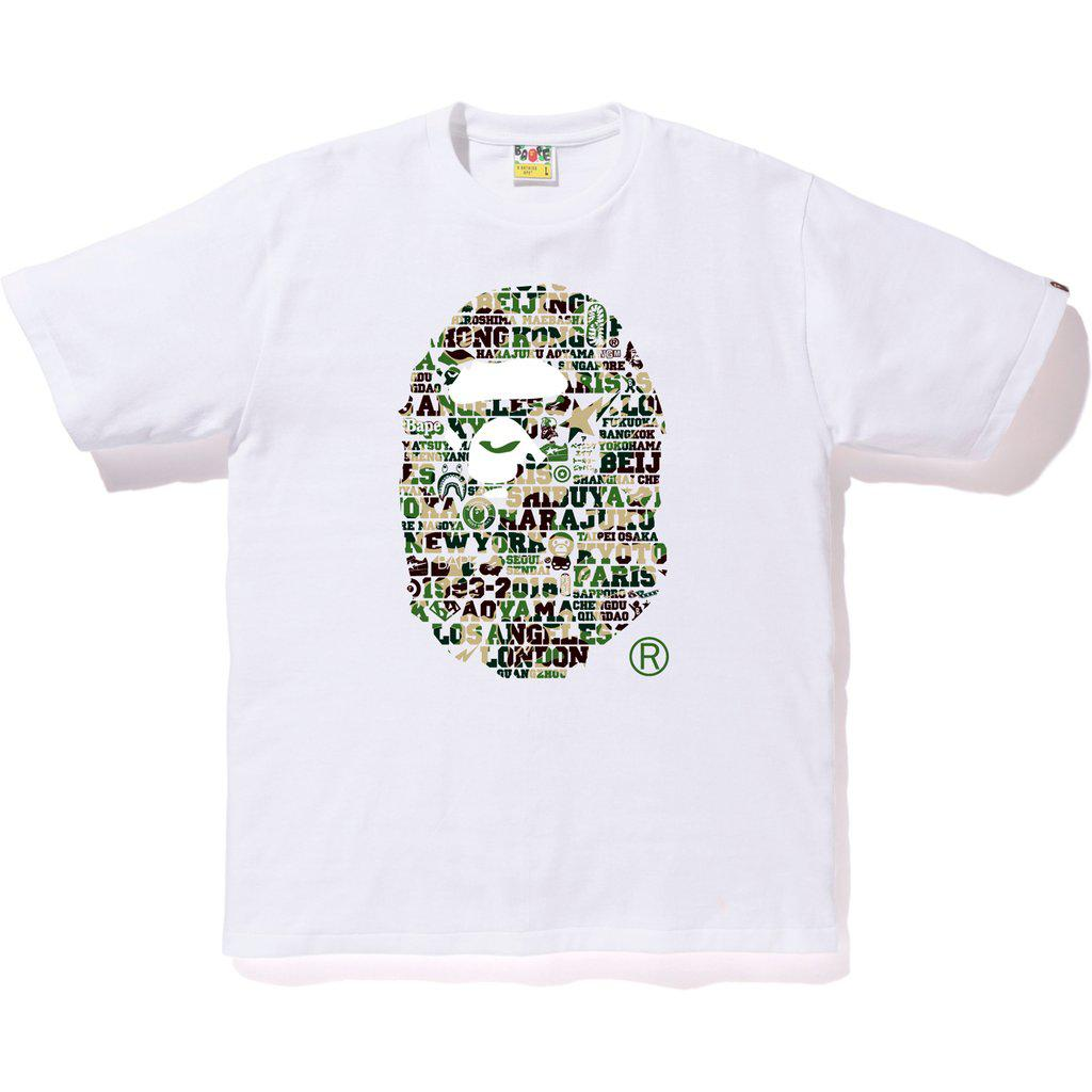 cc6ed7d4 Lyst - A Bathing Ape Xxv Cities Camo Ape Head Tee White/green in ...