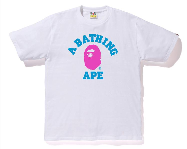 e311af30e Lyst - A Bathing Ape Neon College Tee White/pink in White for Men