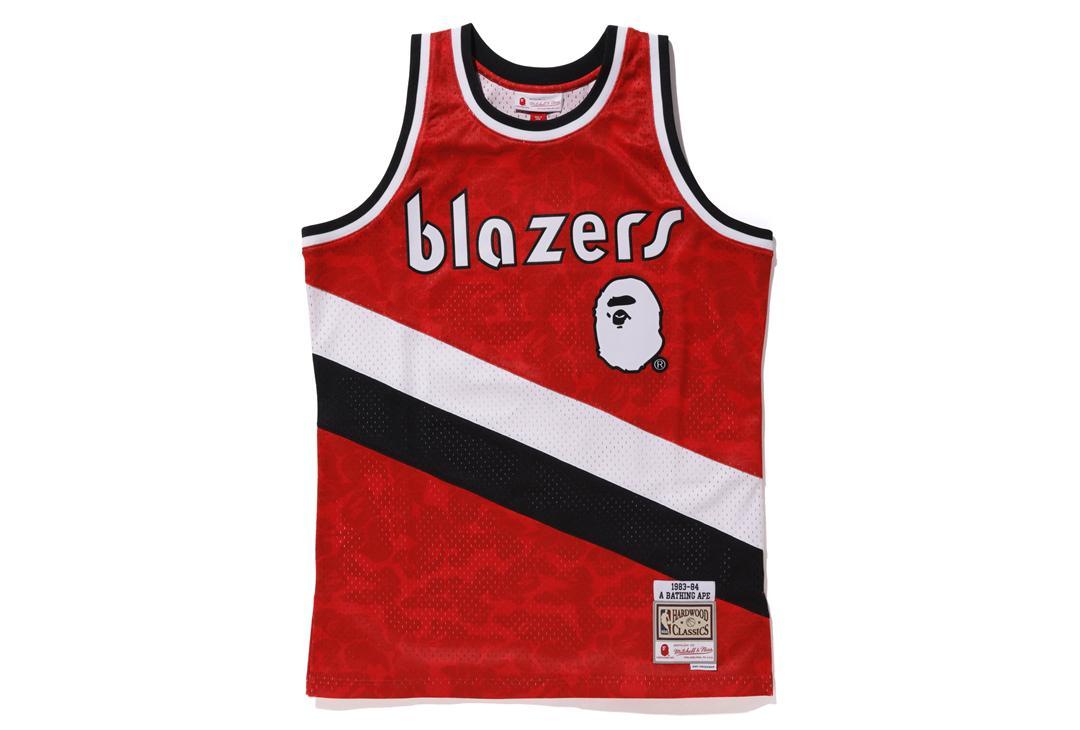 f226e534b A Bathing Ape. Men s Red X Mitchell   Ness Blazers Abc Basketball Swingman  Jersey Burgundy