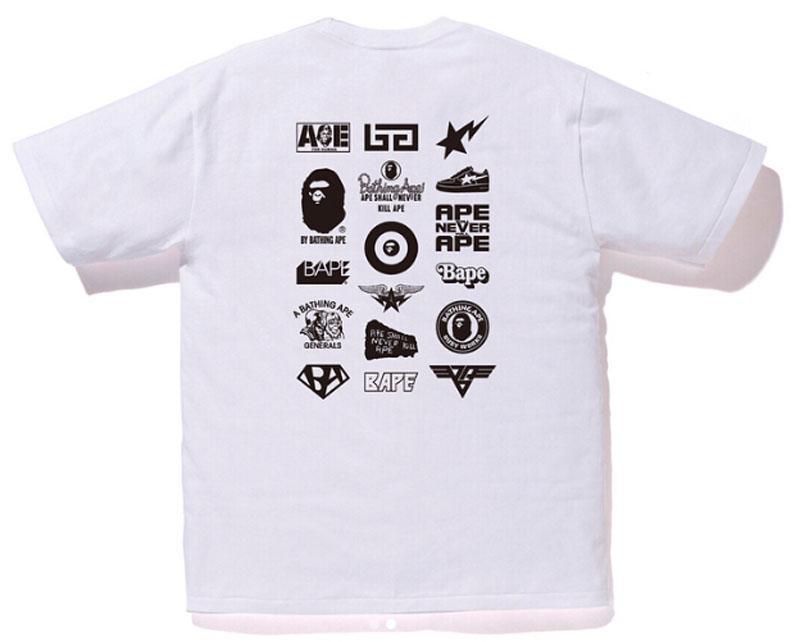 8c1f6177 Lyst - A Bathing Ape Bicolor Multi Logo Tee White/black in White for Men