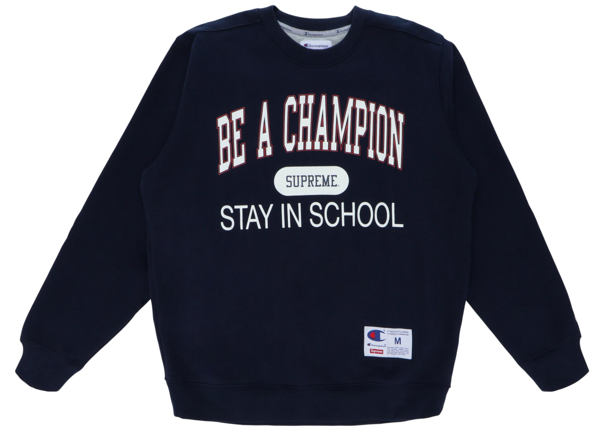 249d4196 Supreme Champion Stay In School Crewneck Navy in Blue for Men - Save ...