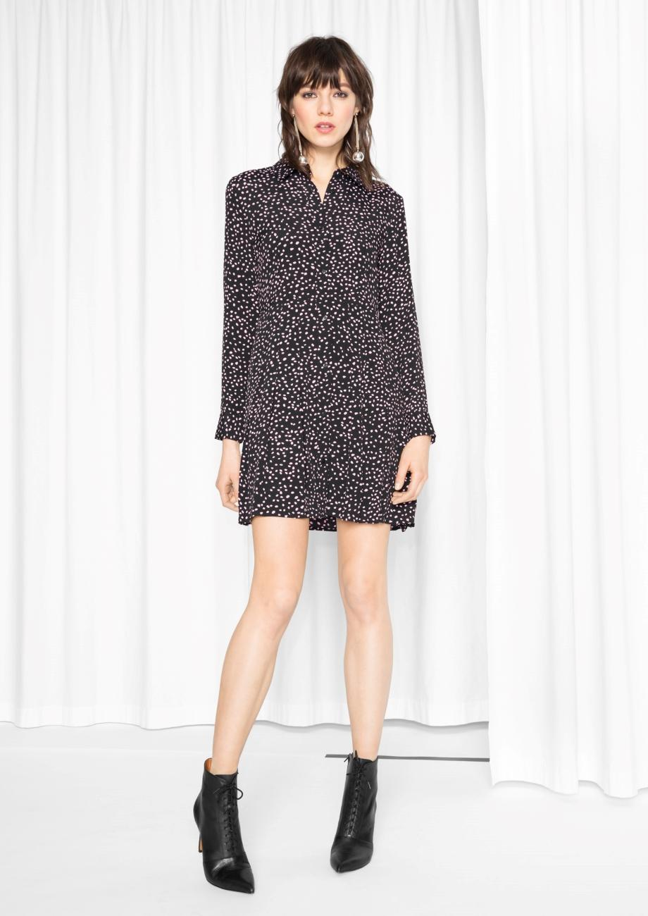 Lyst other stories pleated shirt dress in black for Black pleated dress shirt